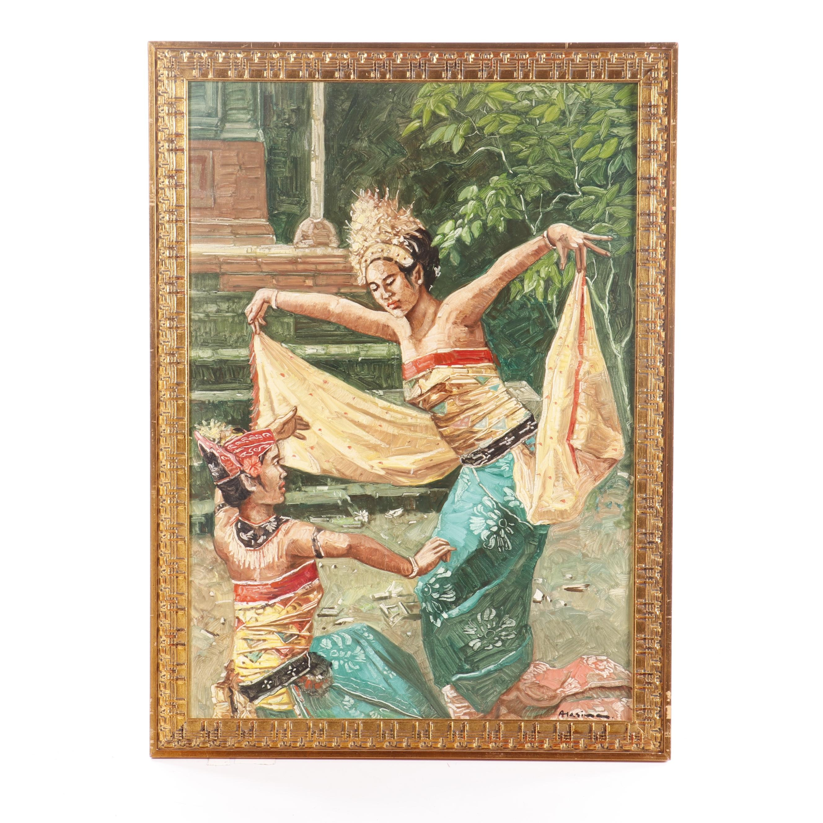A. Hasim Oil Painting of Penari Dancers