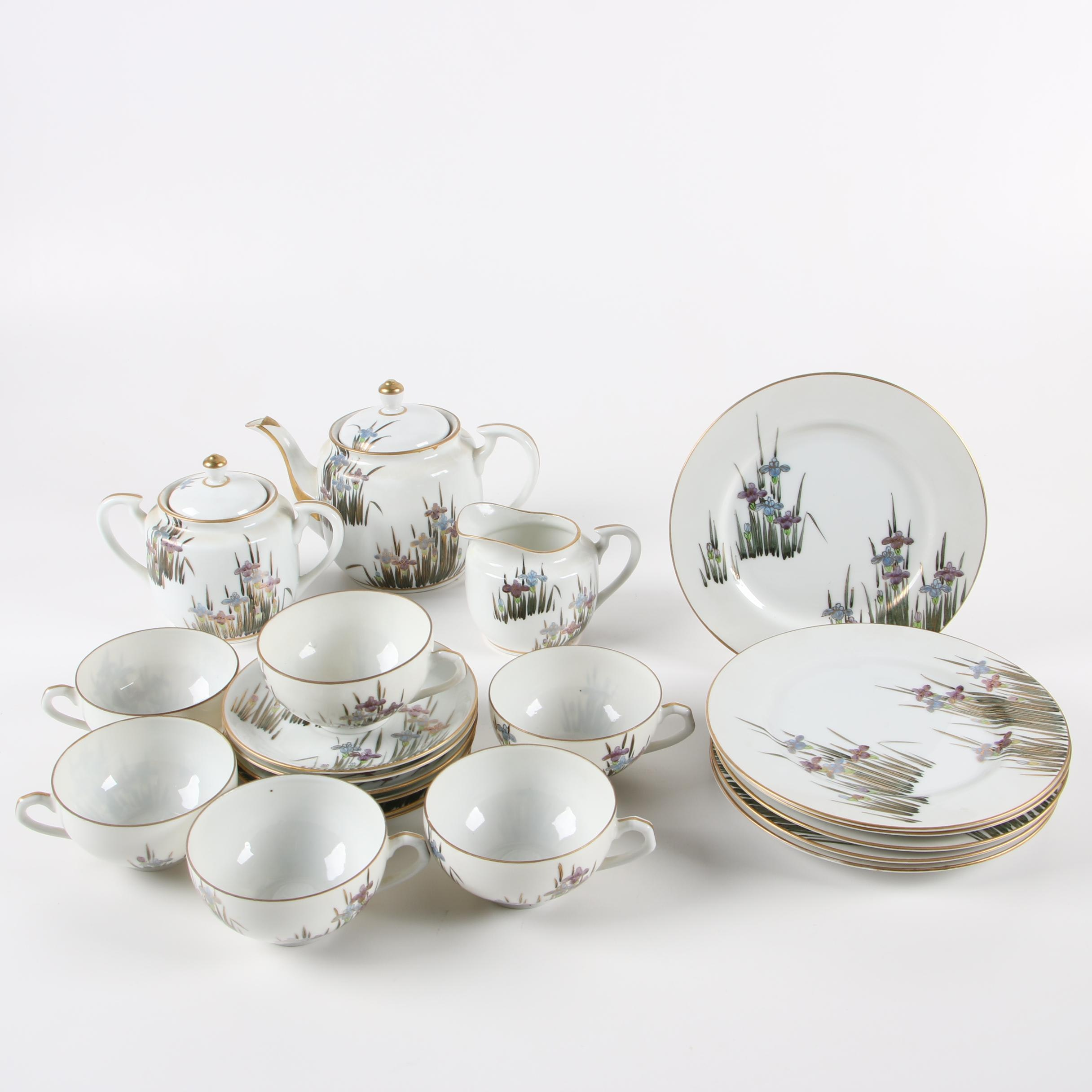 Asian Porcelain Tea Service with Lithophane Teacups
