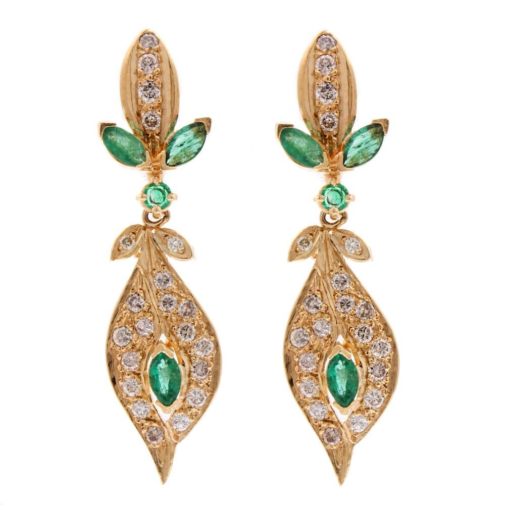 14K Yellow Gold 1.00 CTW Diamond and Emerald Earrings