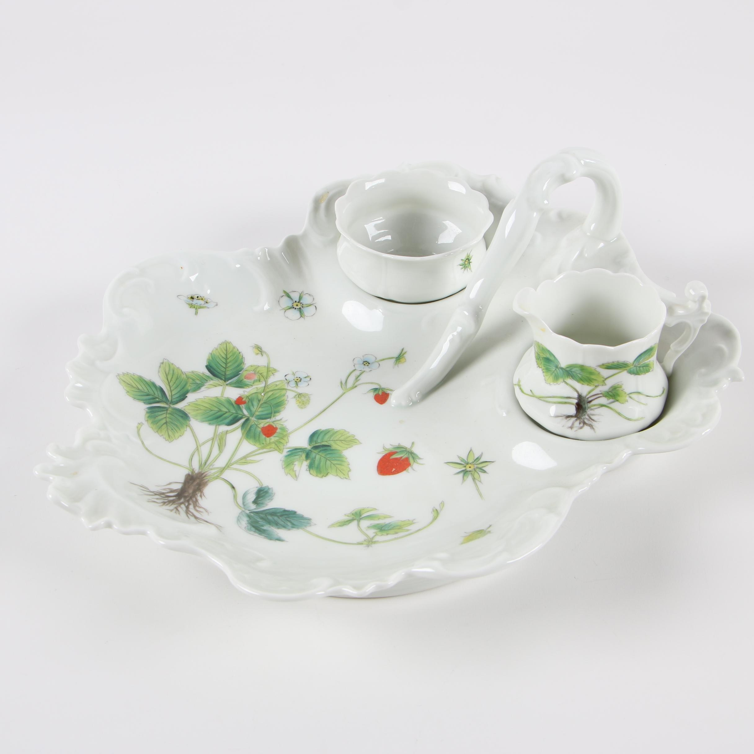 Charmart Limoges Porcelain Nappy with Creamer and Open Sugar