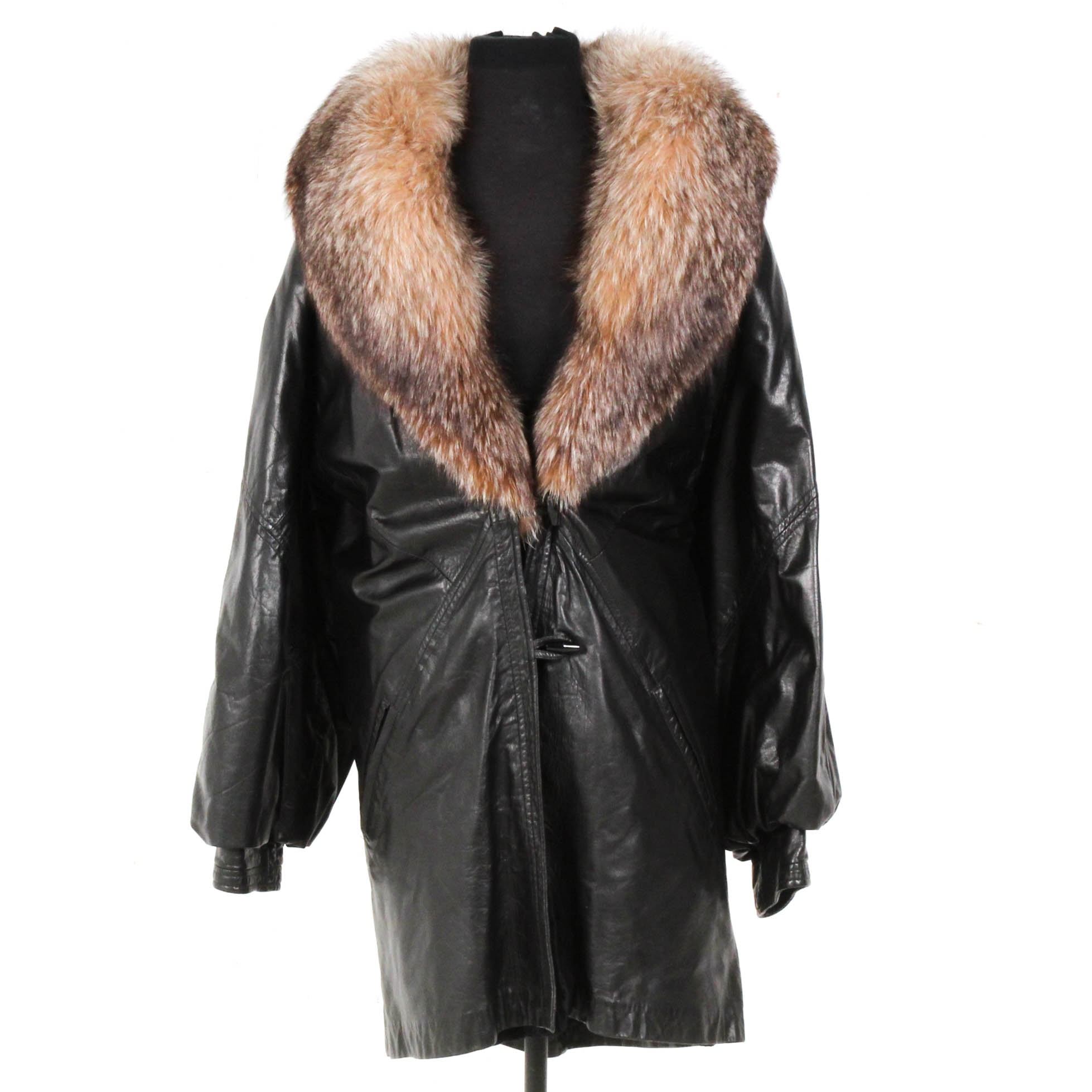 Black Leather Jacket with Fox Fur Collar and Sheared Rabbit Lining