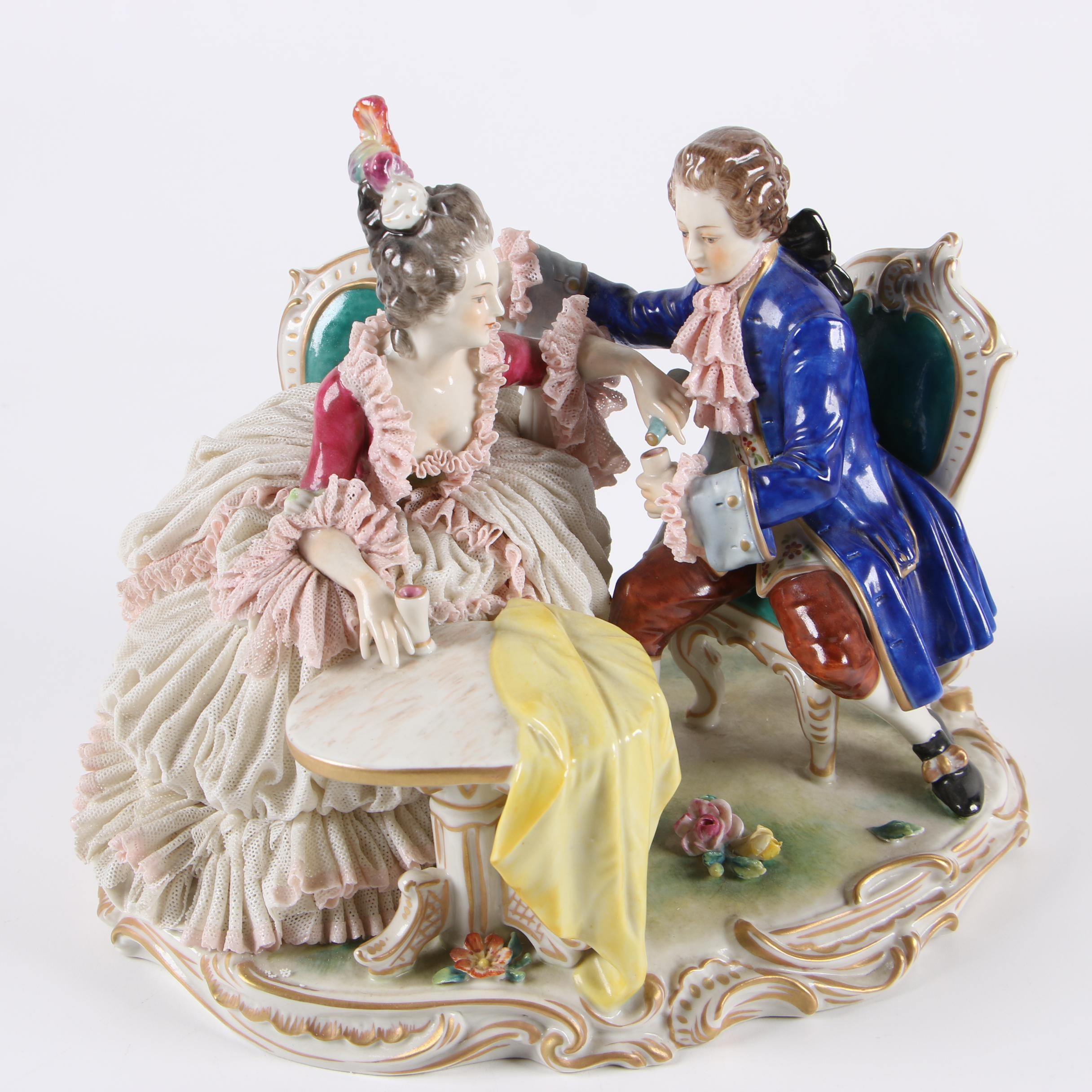 German Volkstedter Porcelain Tableau Figurine, Early 20th Century