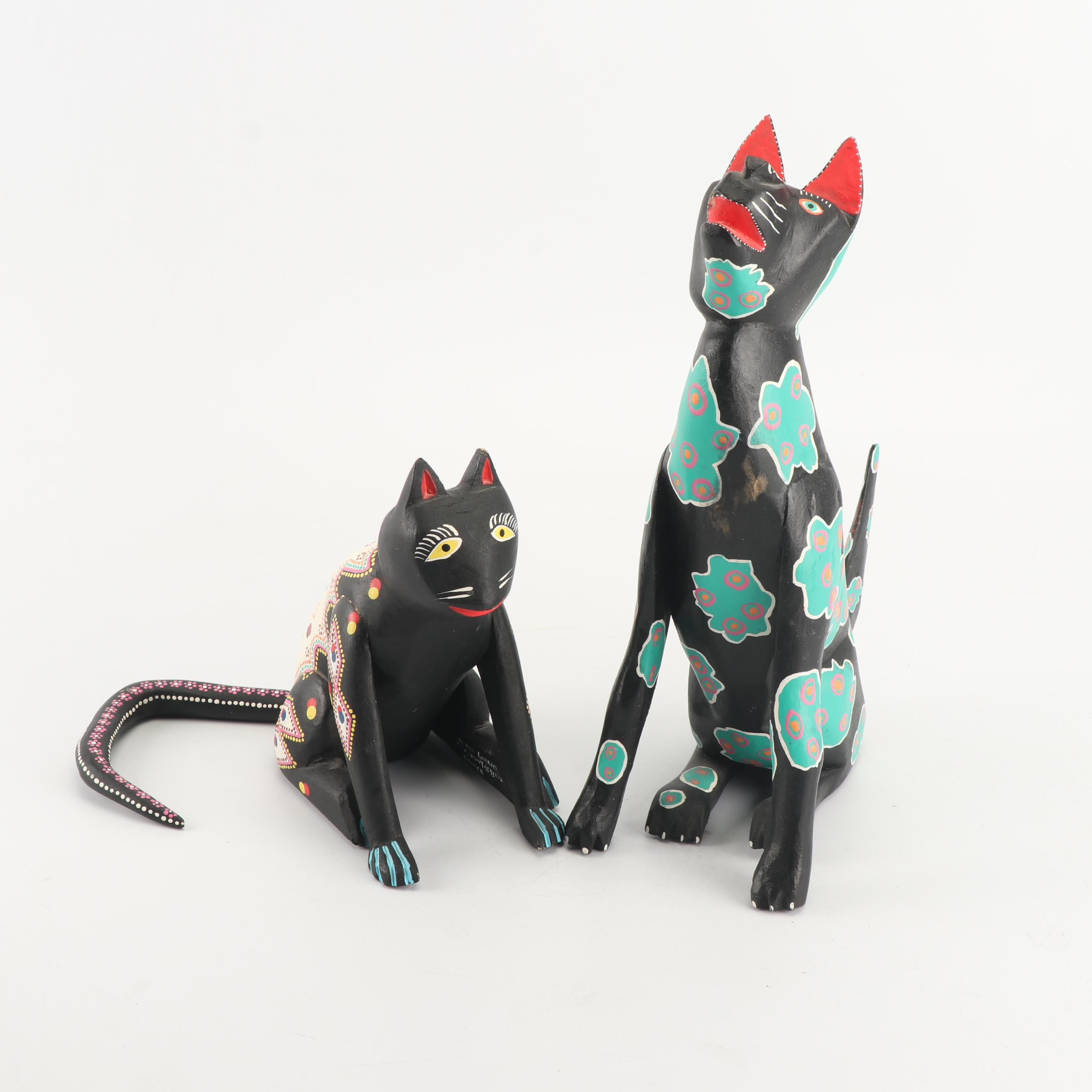 Mexican Folk Art Cat and Dog Figurines