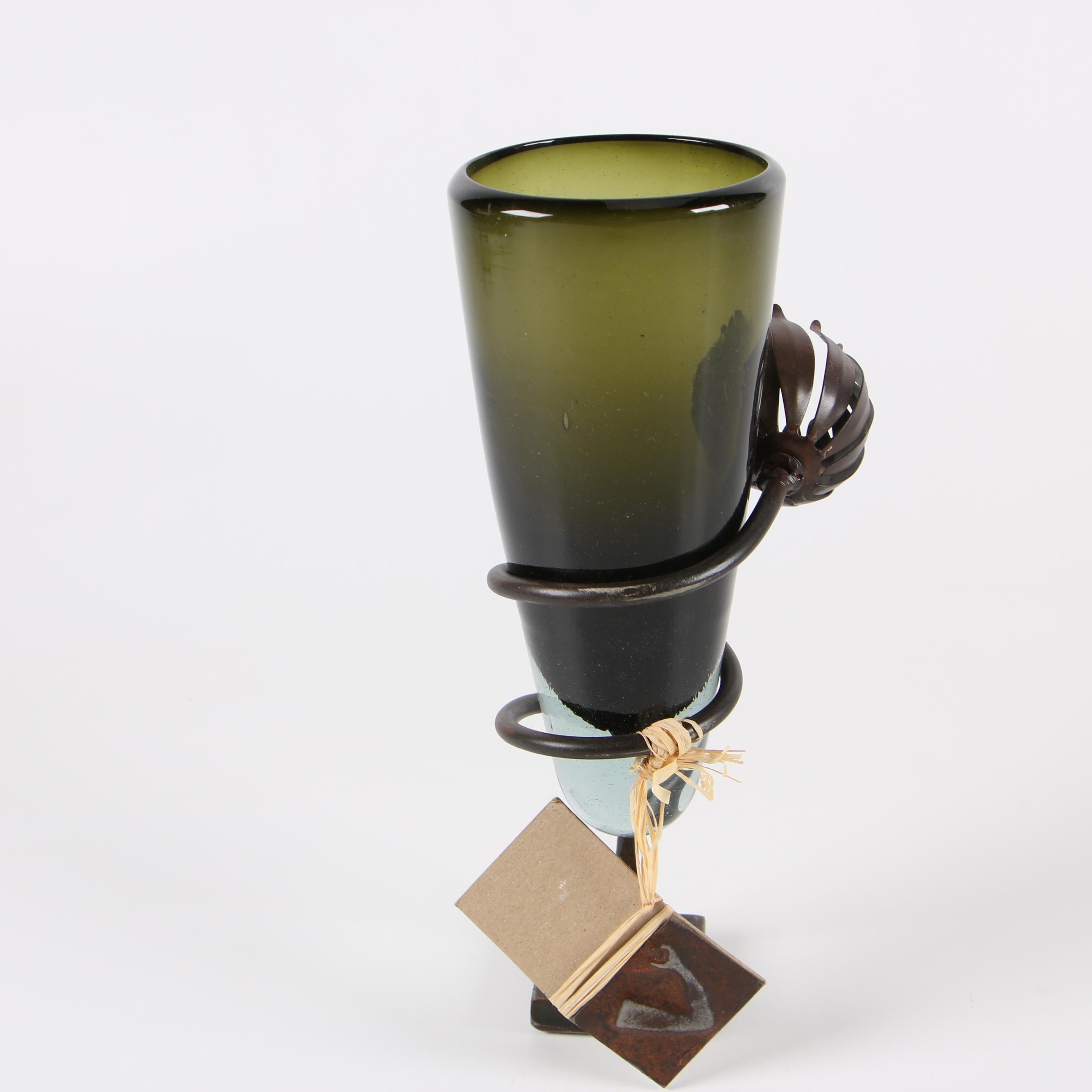 Jan Barboglio Hand Worked Iron and Glass Vase