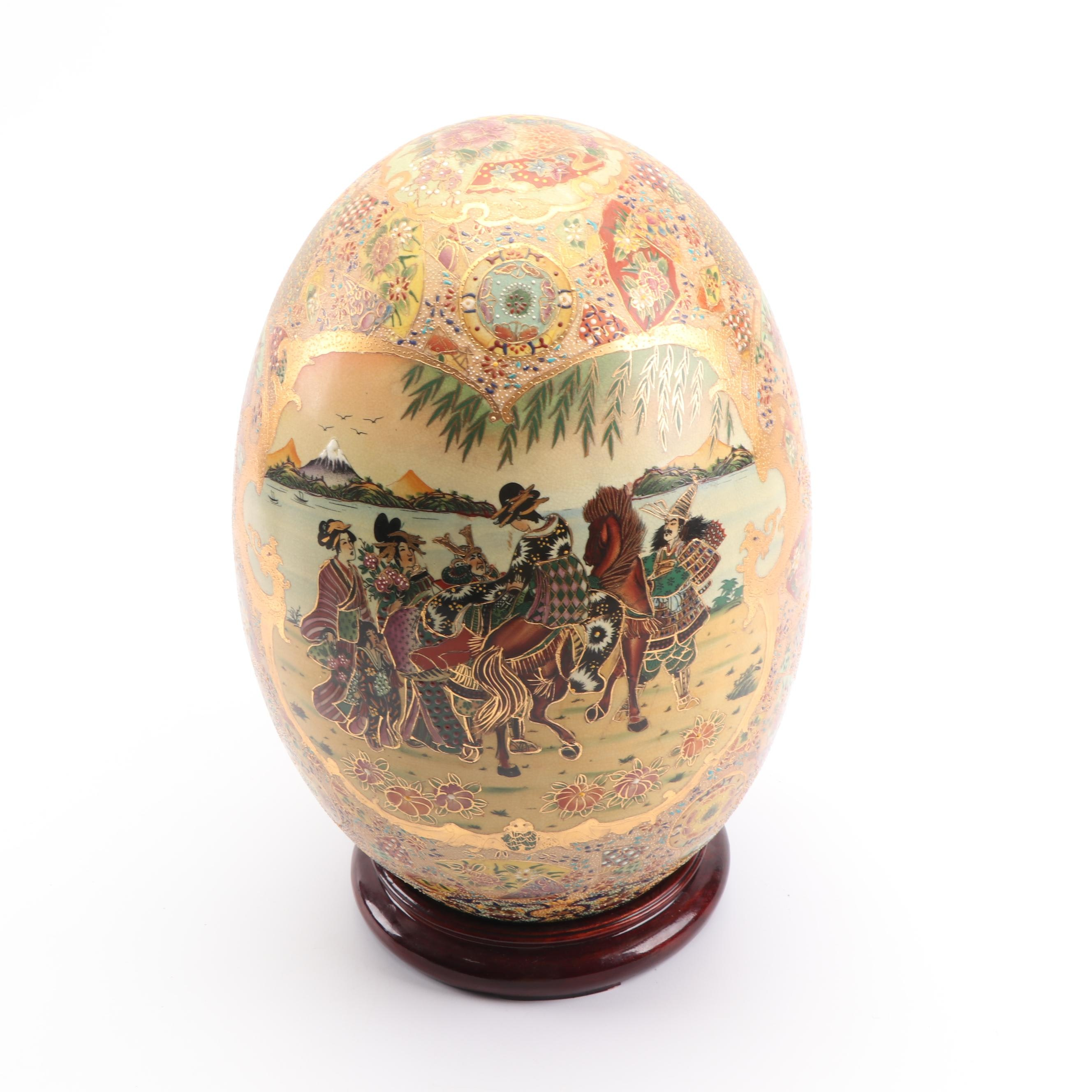 Chinese Satsuma Style Ceramic Egg with Stand