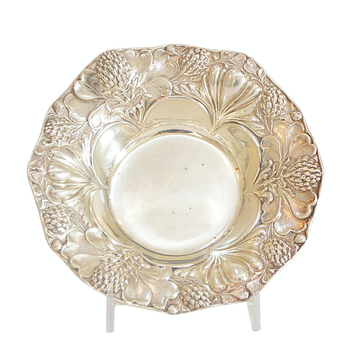 Gorham Sterling Silver Repousse Clover and Thistle Bon Bon Dish