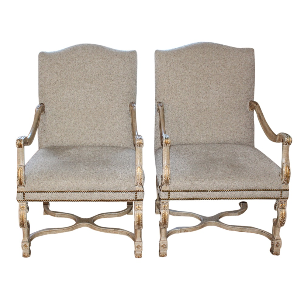 Pair of Sherrill Furniture French Provincial Style Armchairs
