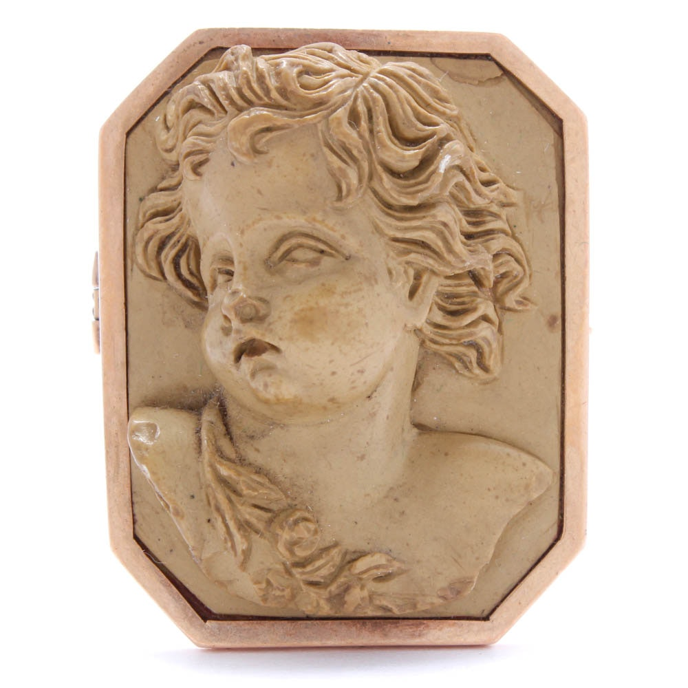 Antique 18K Yellow Gold Lava Carved Cameo Brooch