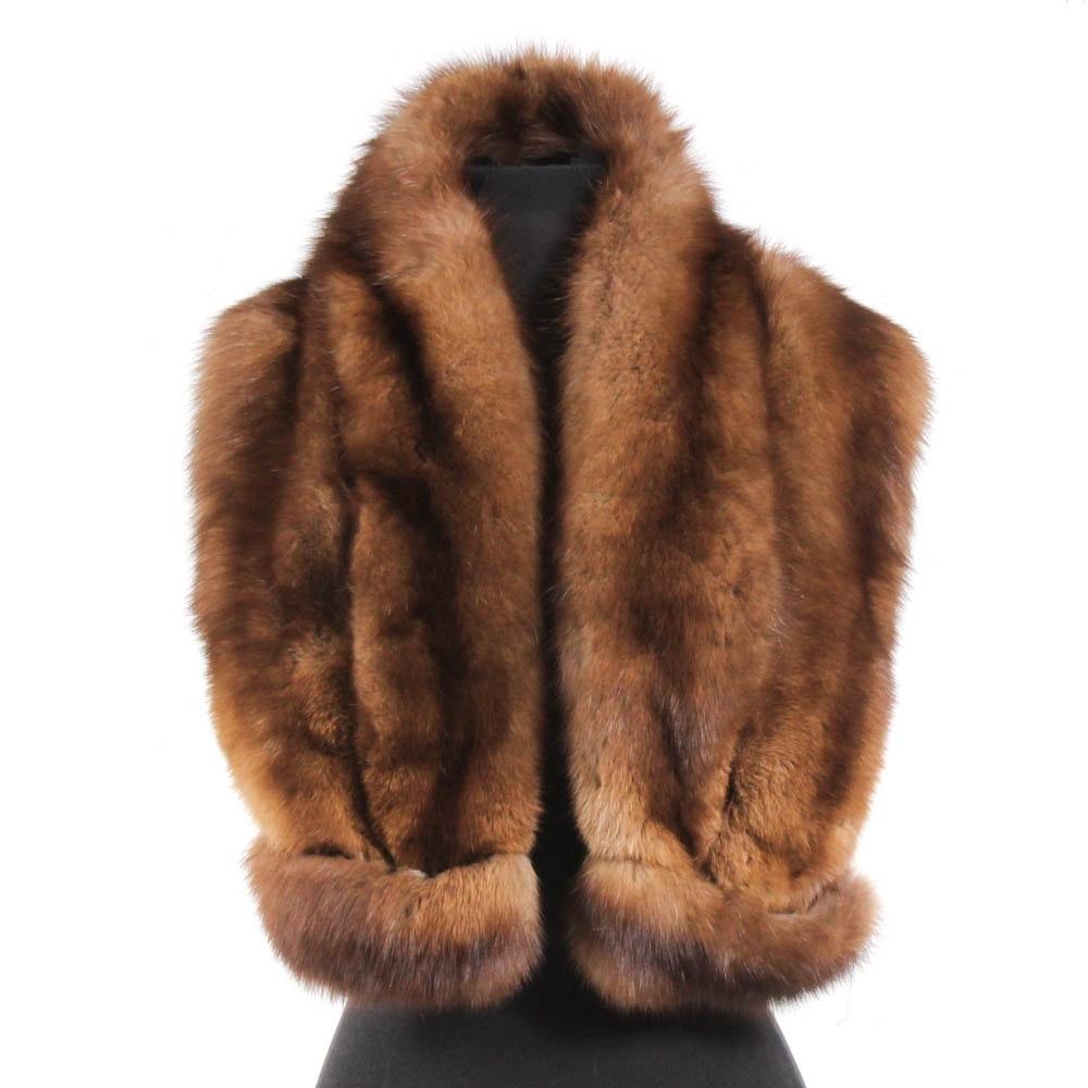 Vintage Jacques Ferber Sable Fur Wrap Scarf