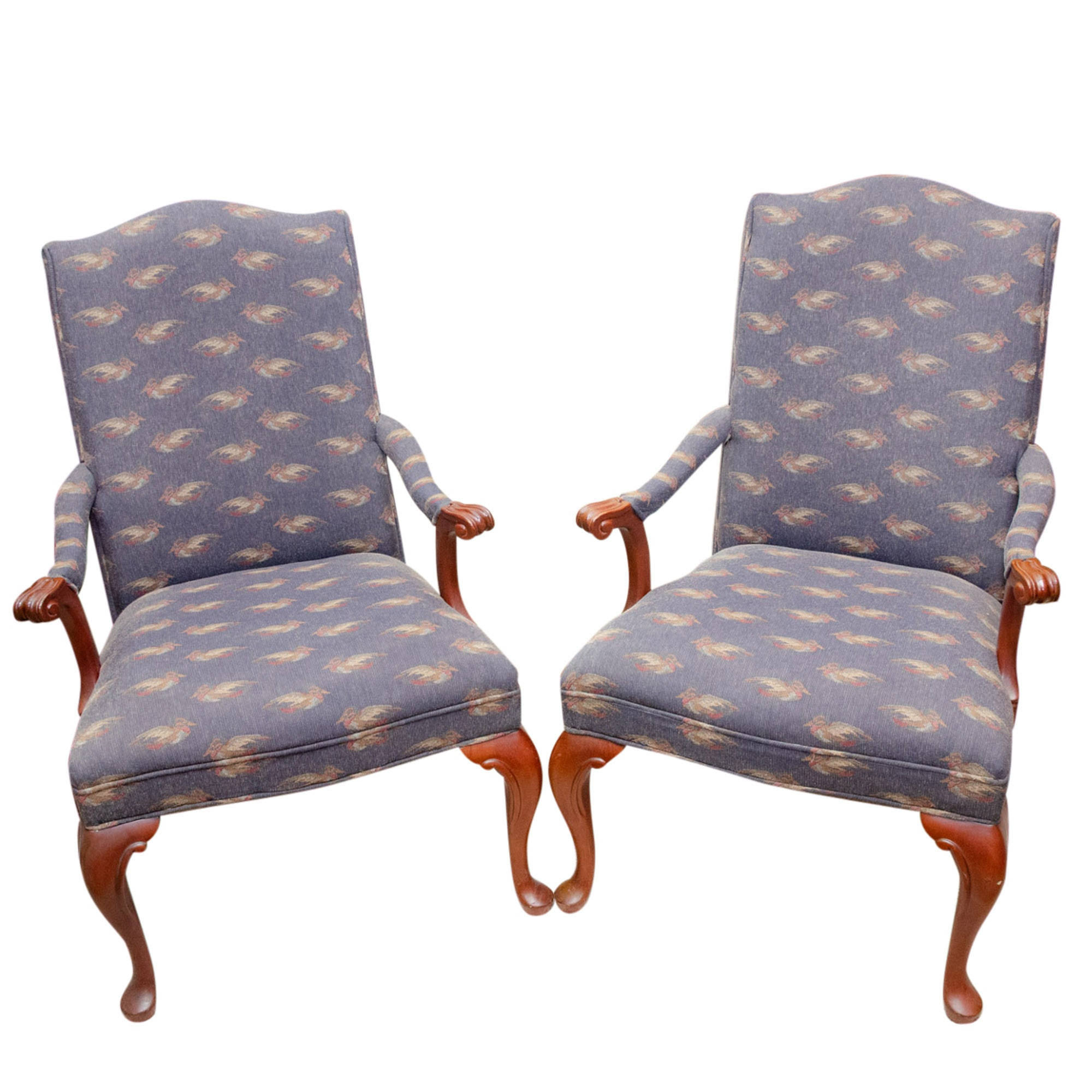 Burnhardt Queen Anne Style Upholstered Armchairs