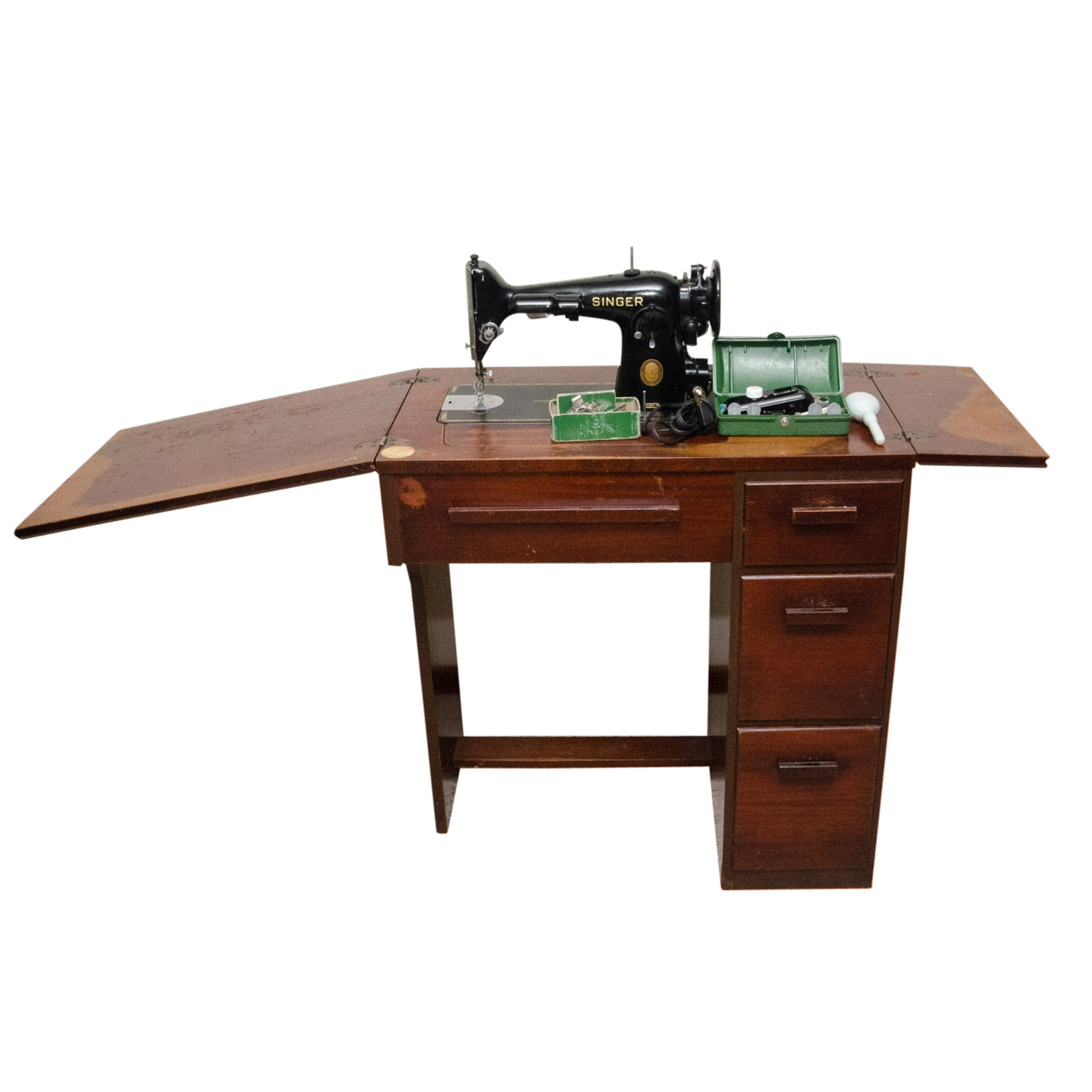 Mid Century Singer Sewing Machine Cabinet and Button Hole Machine