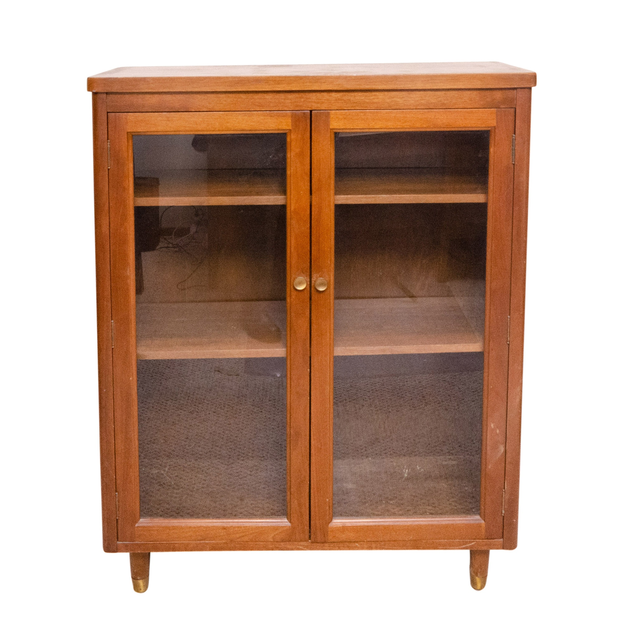 Mid Century Modern Glass and Walnut Cabinet