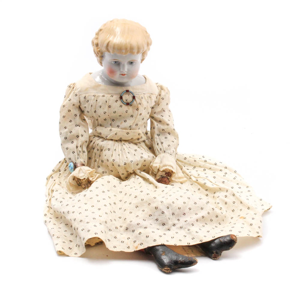 German Porcelain Doll, Late 19th Century