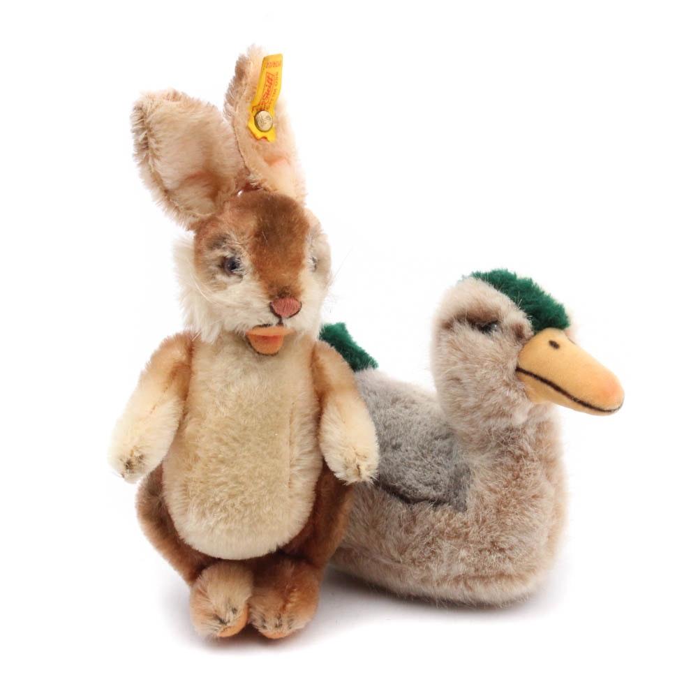 """Steiff Stuffed Mohair """"Tulla"""" Mallard Duck and """"Niki"""" Rabbit"""