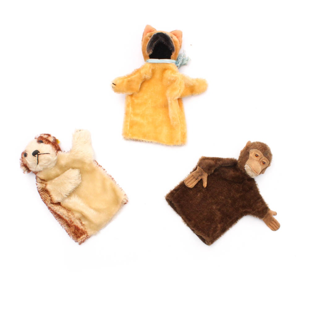 Vintage Steiff Boxer, Puppy, and Monkey Hand Puppets