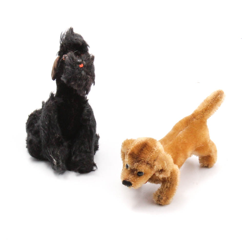 "Vintage Steiff Stuffed Mohair ""Snobby"" Poodle and ""Hexie"" Dachshund"