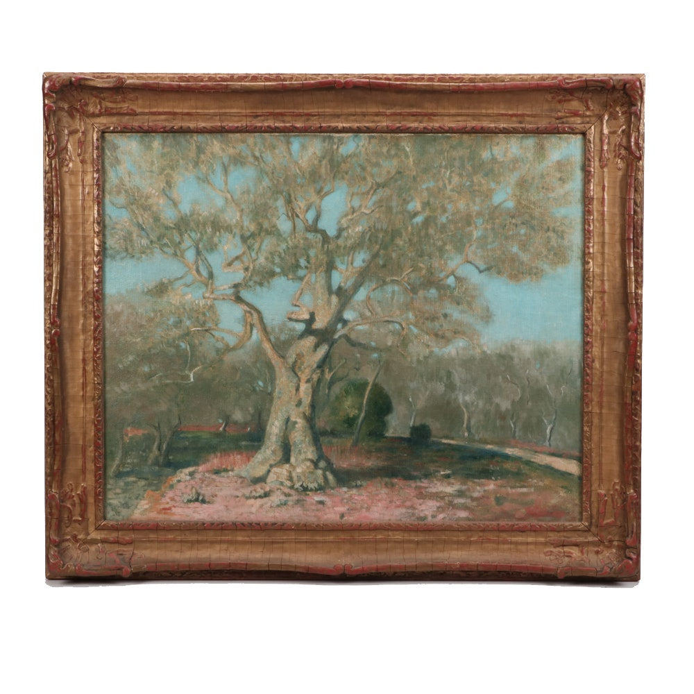 James Roy Hopkins Early 20th Century Oil Painting of Tree