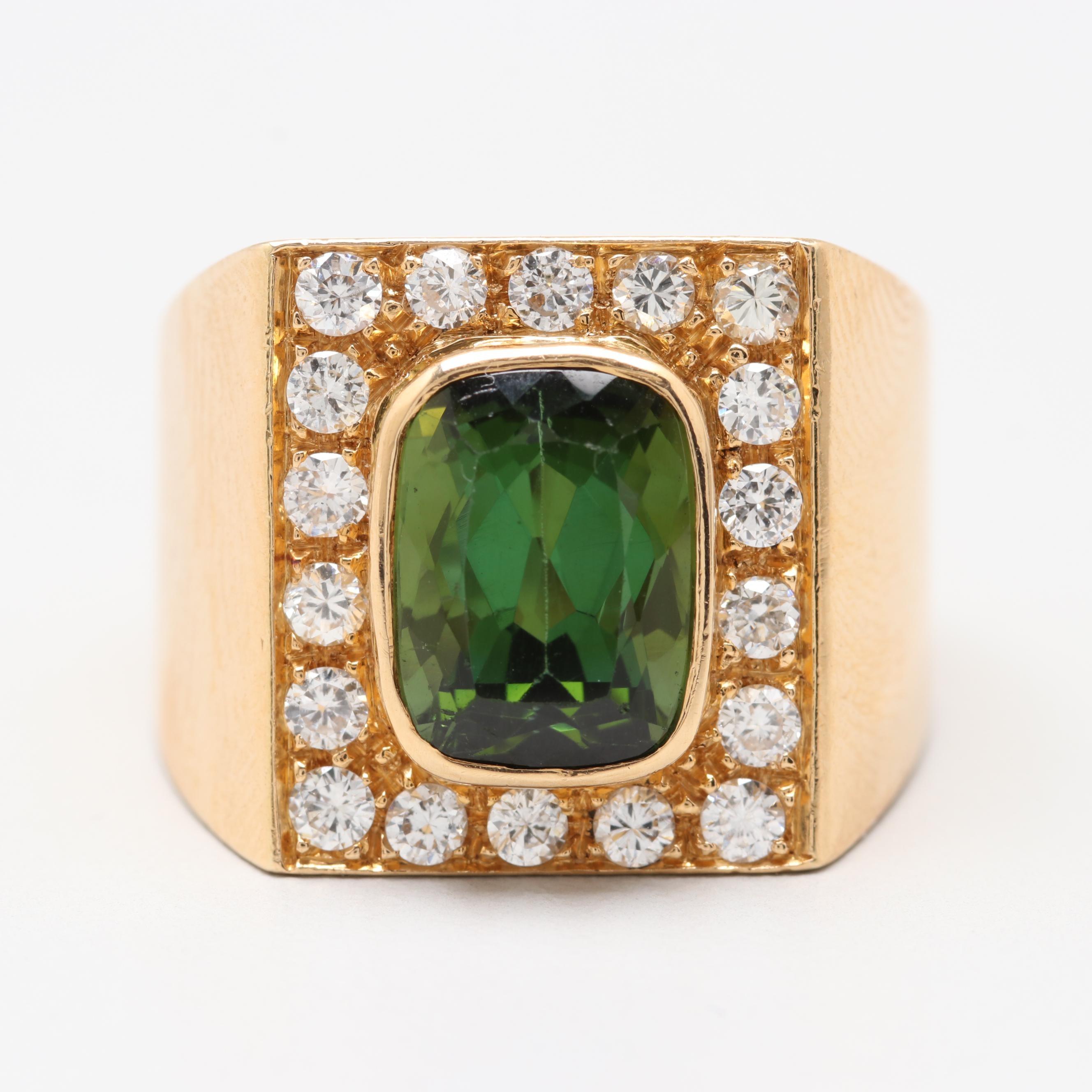 18K Yellow Gold 3.20 CT Green Tourmaline and Diamond Ring