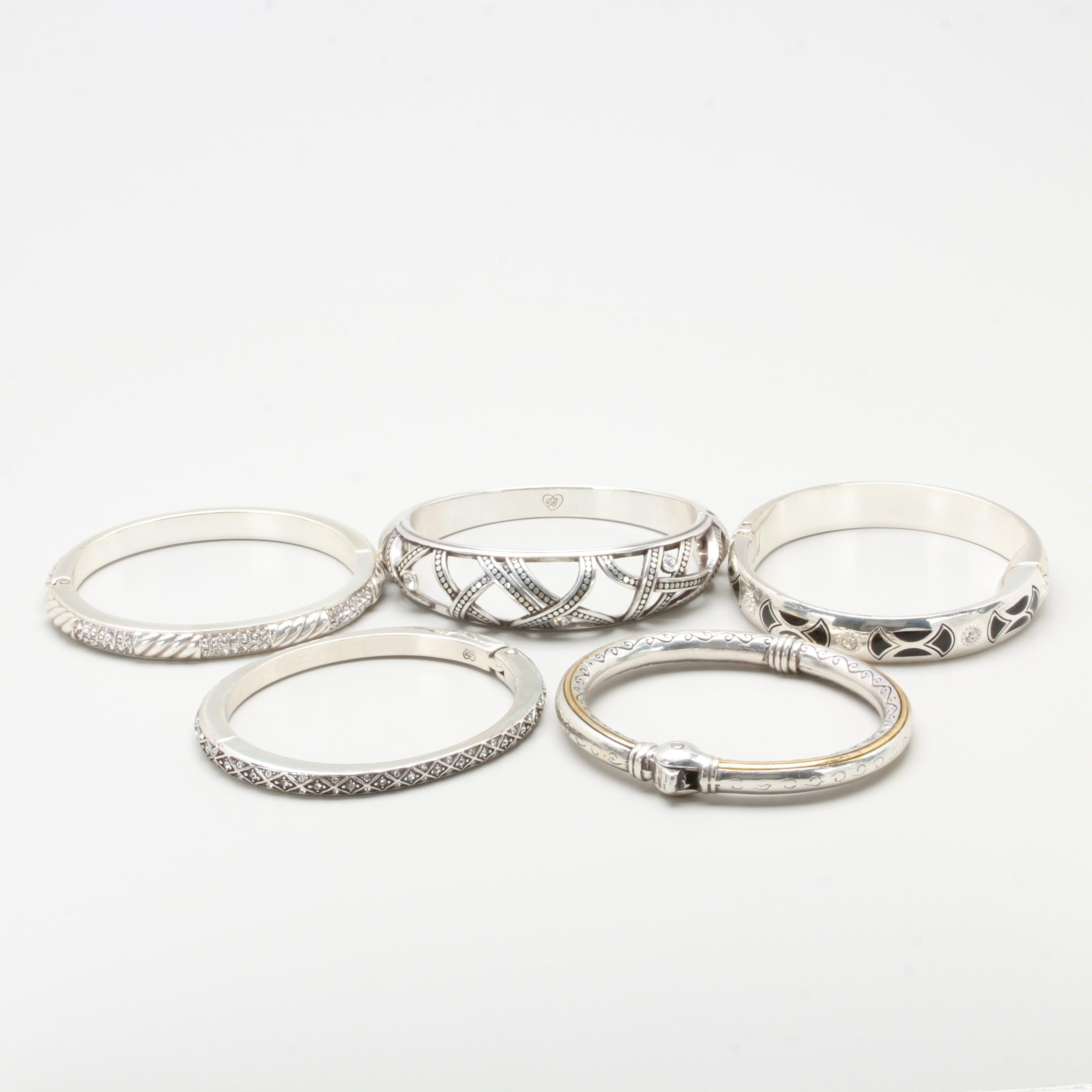 Silver Tone Bracelet Selection Including Enamel and Glass