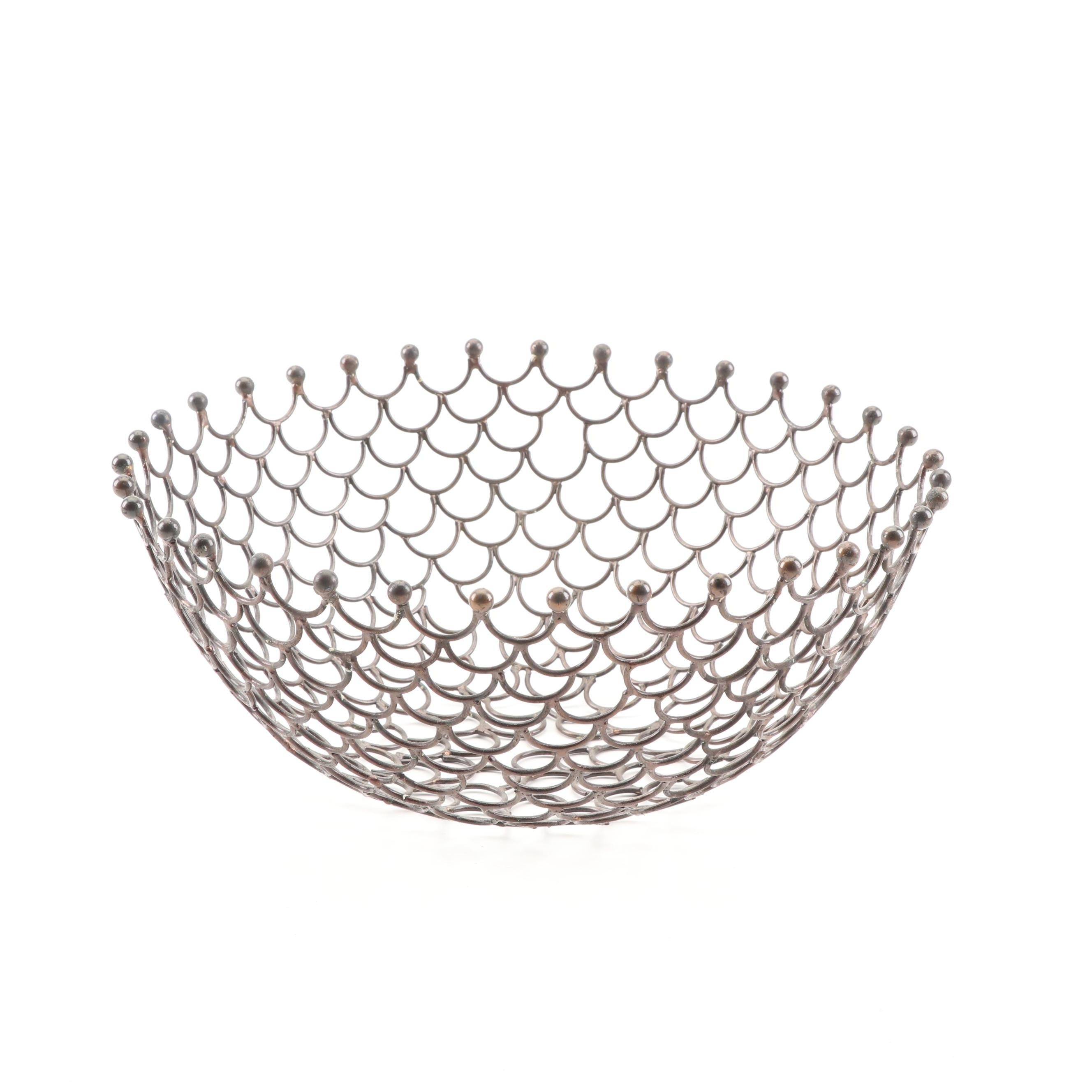 Contemporary Fish Scale Style Metal Centerpiece Bowl
