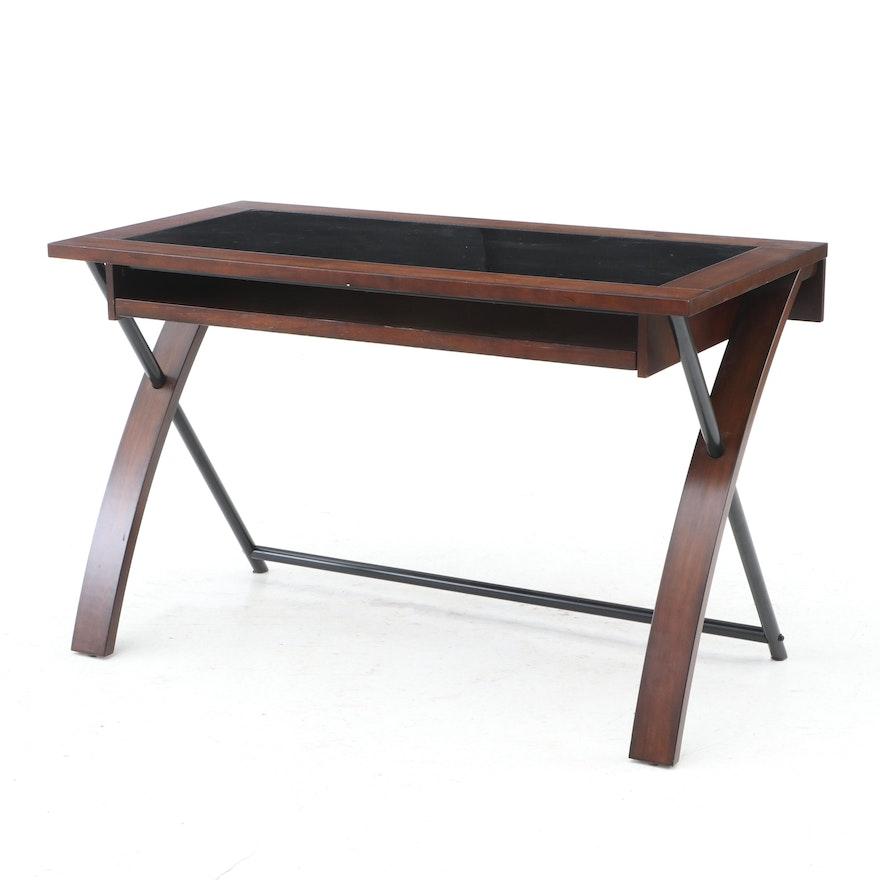 Contemporary Whalen Furniture Glass Top Desk   EBTH