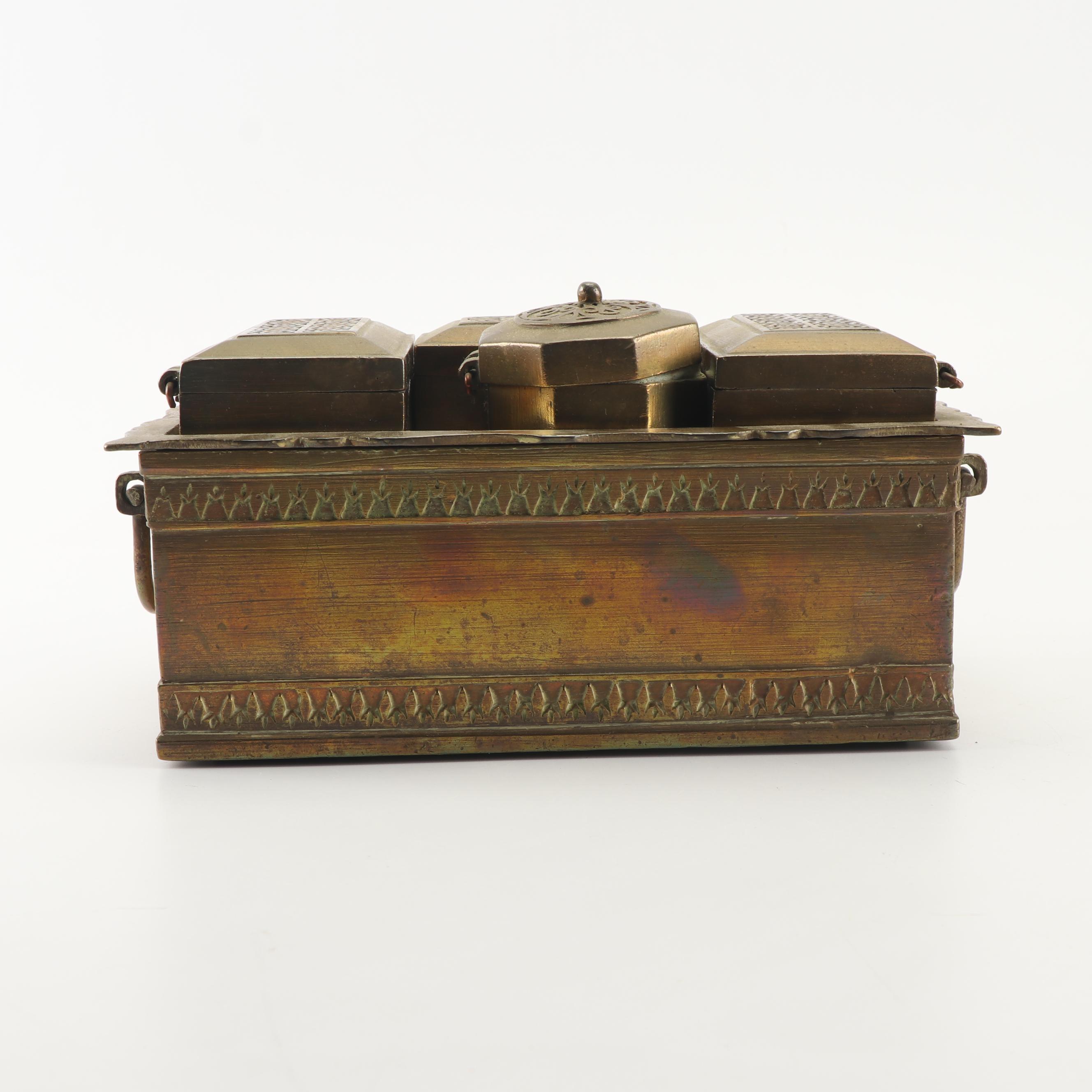 Vintage Indian Style Brass Betel Nut Box