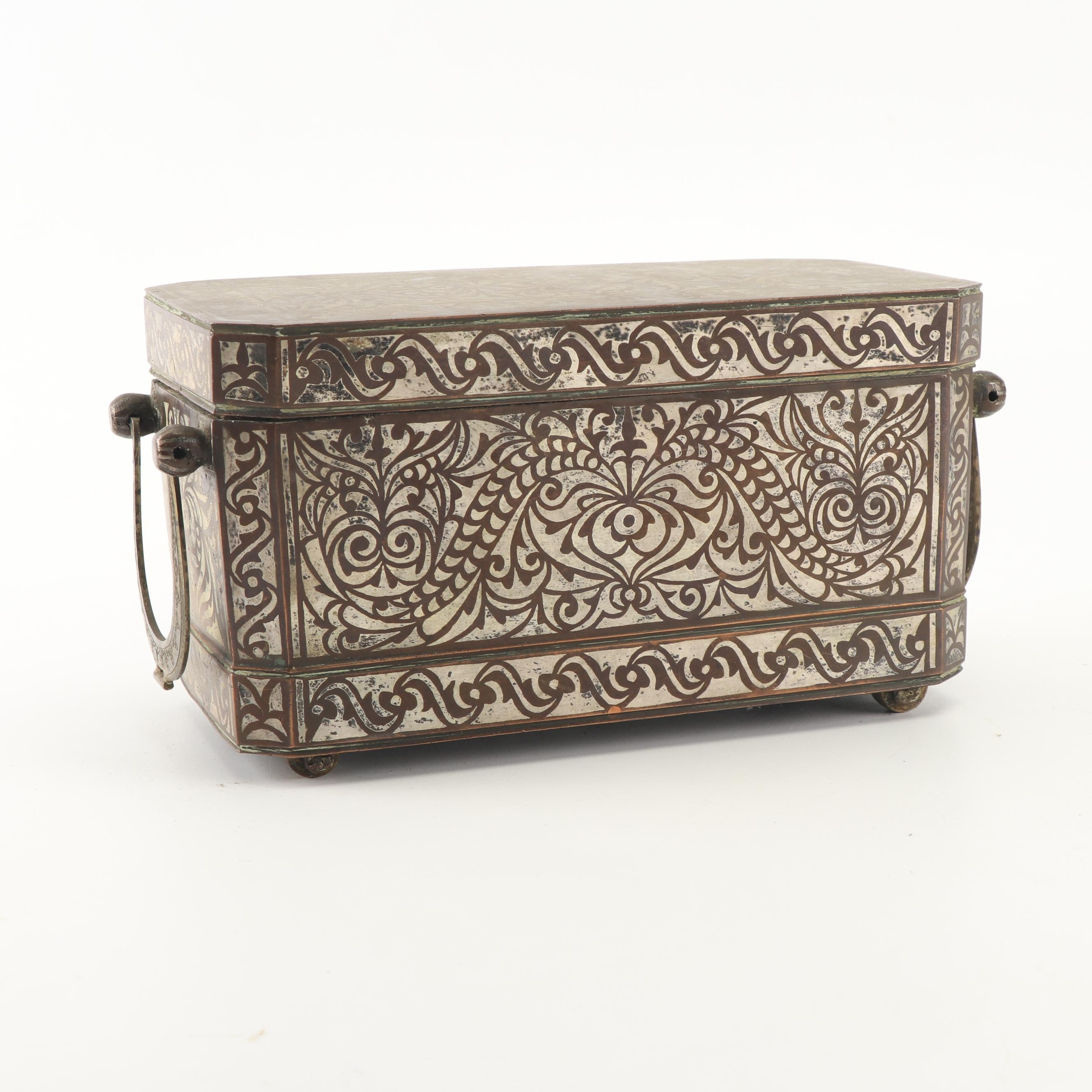 Brass with Silver Inlay Filipino Betel Box with Beaded Strap and Bell