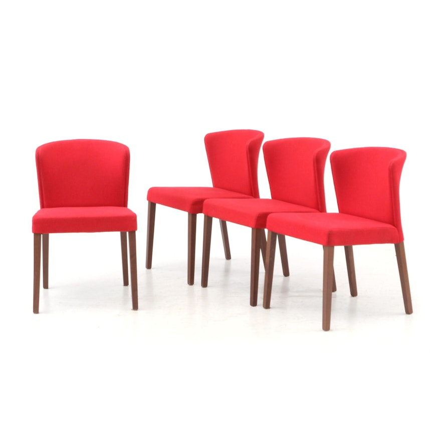 Four Crate Barrel Upholstered Side Chairs Presented In Red Ebth