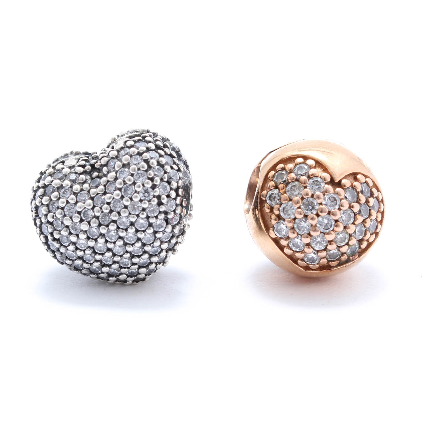 Two Pandora Sterling Silver Cubic Zirconia Beads