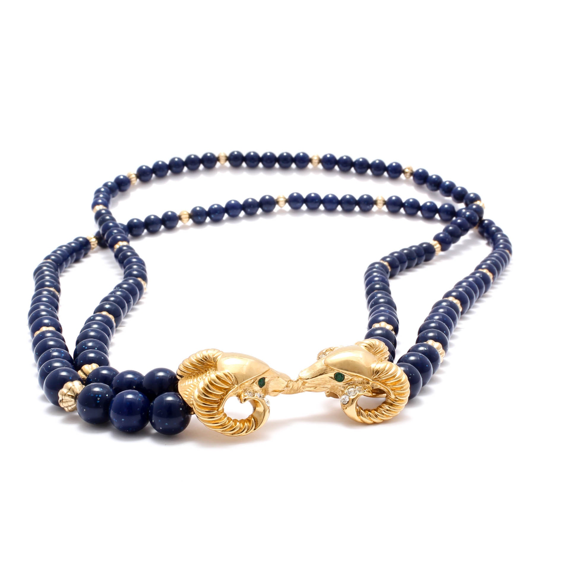 Kenneth Jay Lane for Avon Gold Tone Ram's Head Beaded Necklace
