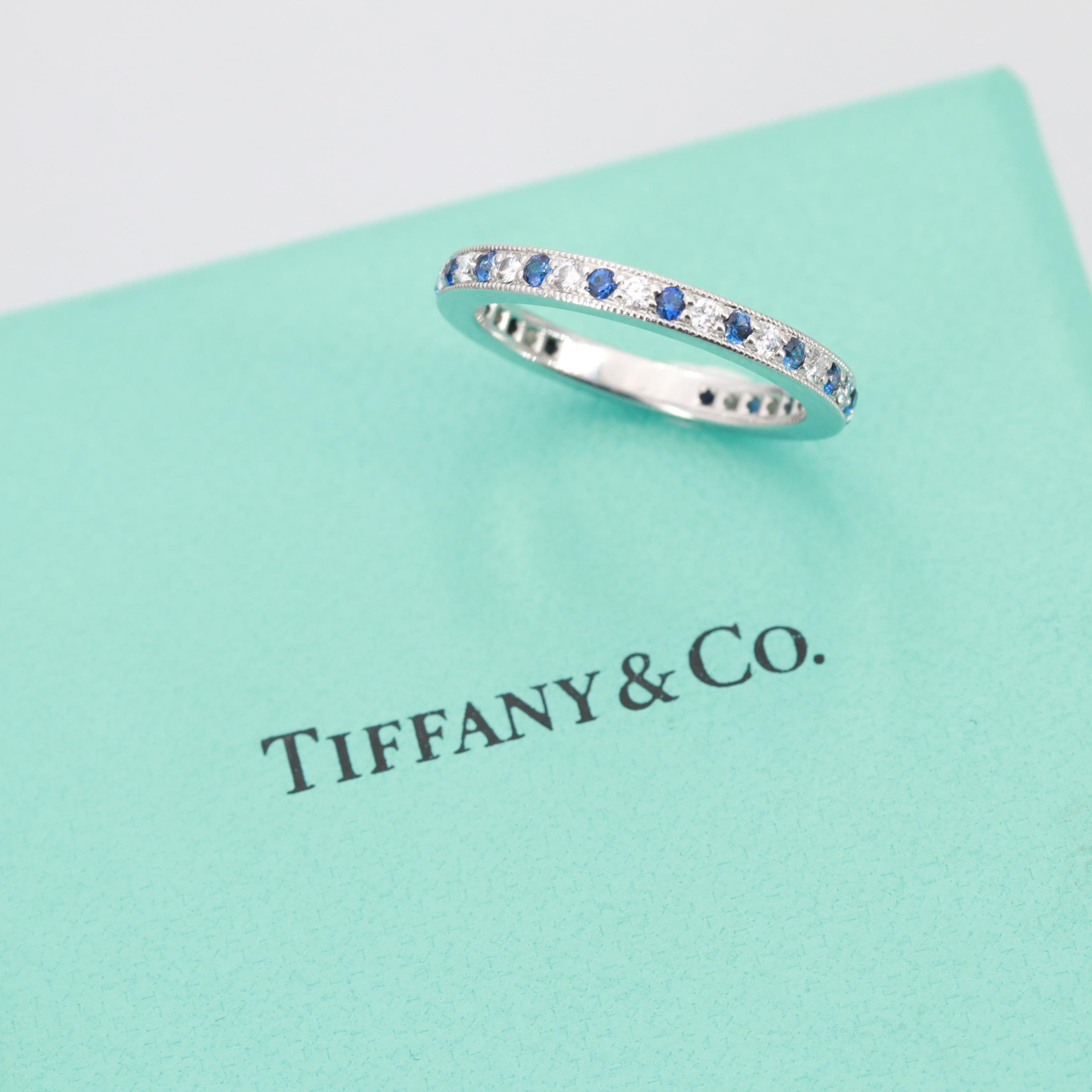 Tiffany & Co. Platinum Diamond and Sapphire Eternity Band