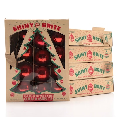 mid century shiny brite christmas tree ornaments