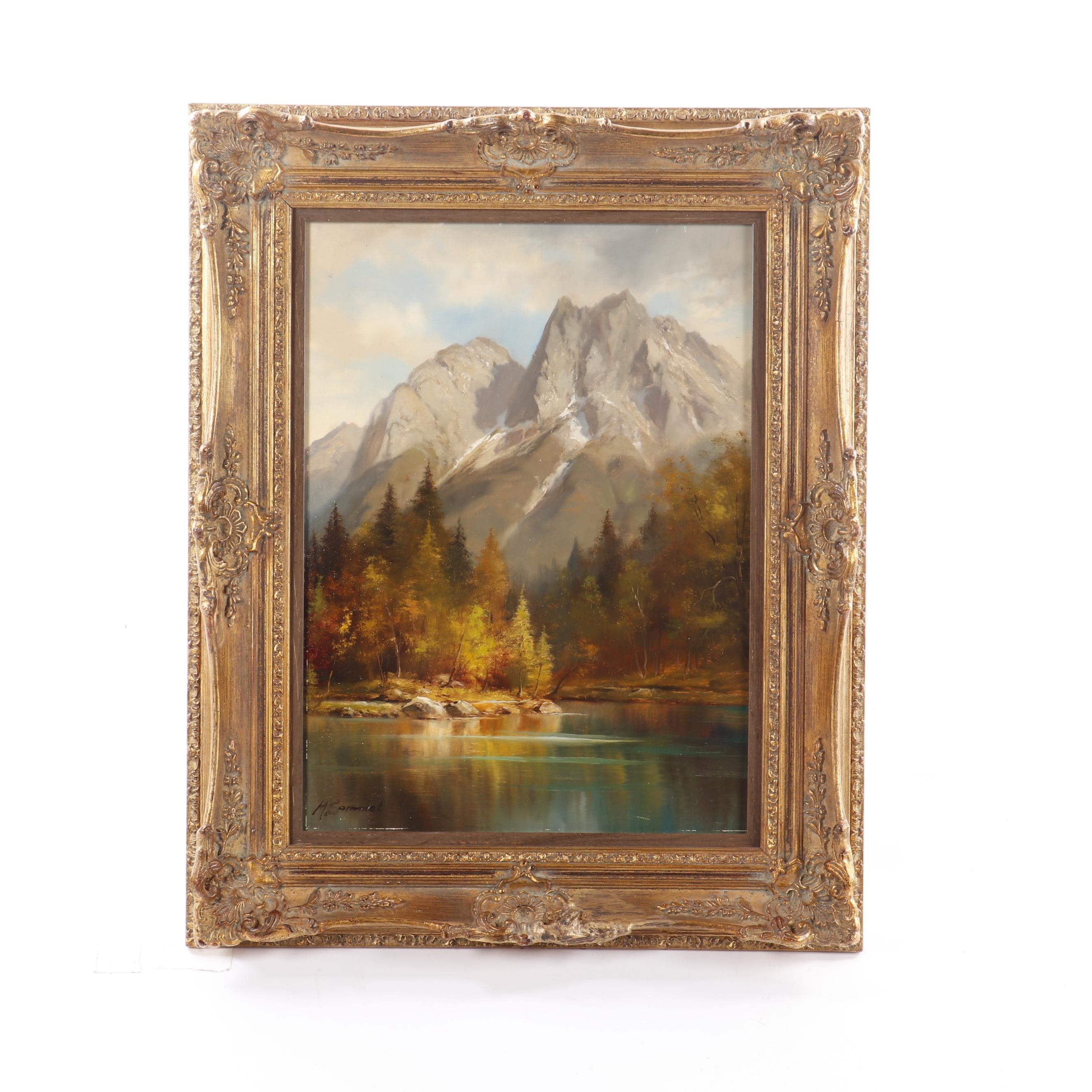 "Max Sammet Oil Painting ""Mt. Waxenstein from Badersee"""