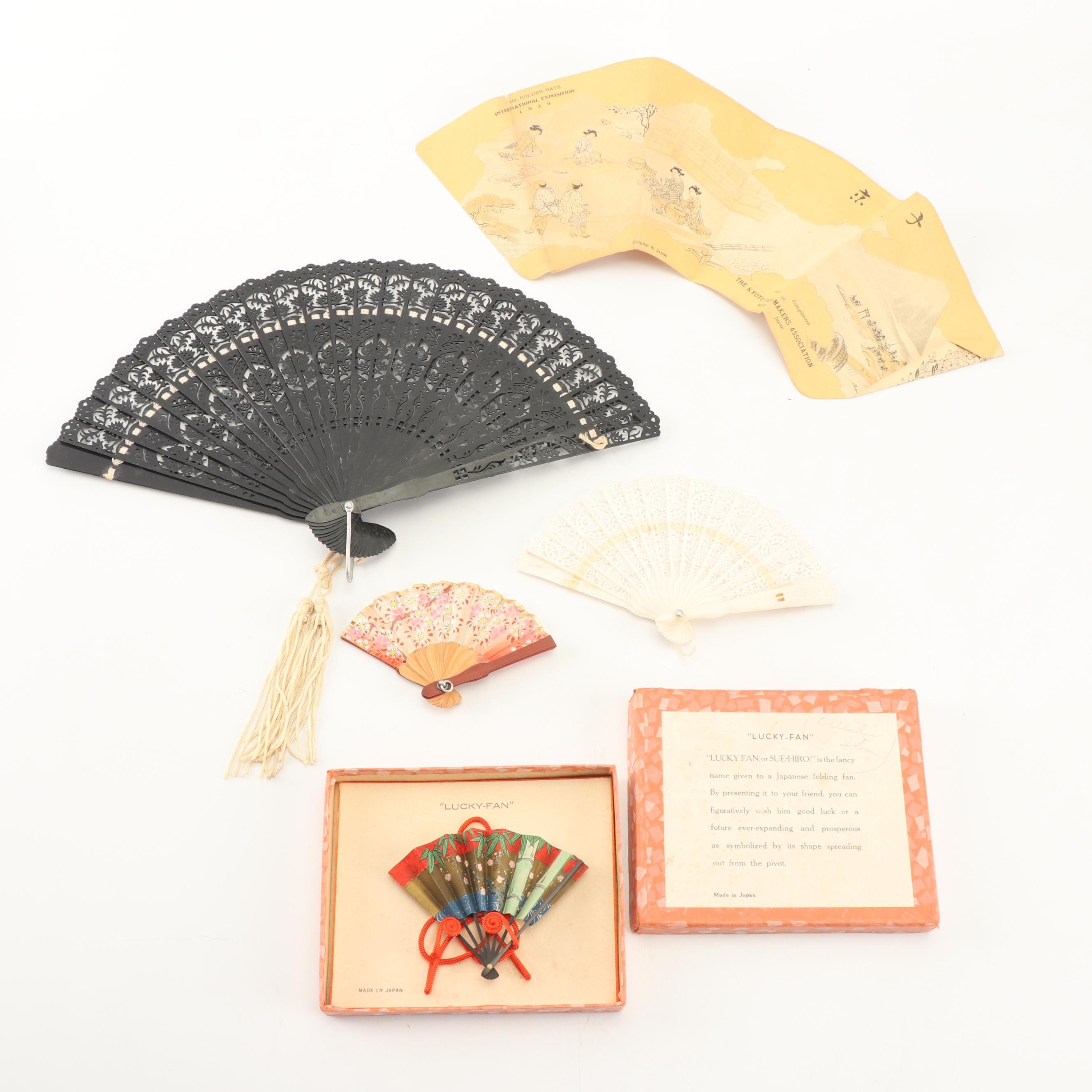 """Vintage Japanese and Hungarian Folding Hand Fans including """"Lucky Fan"""" in Box"""