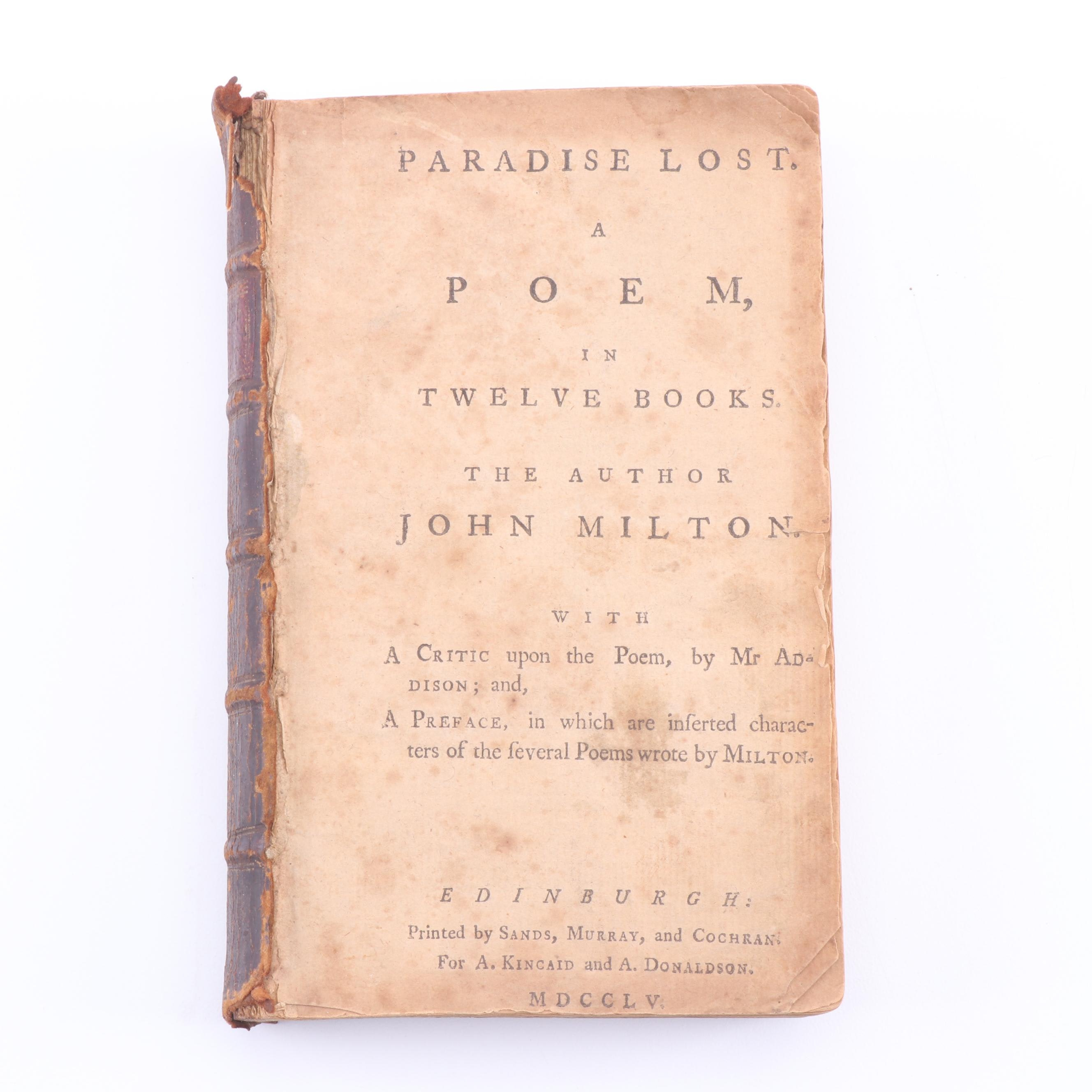 "1755 ""Paradise Lost: A Poem in Twelve Books"" by John Milton"