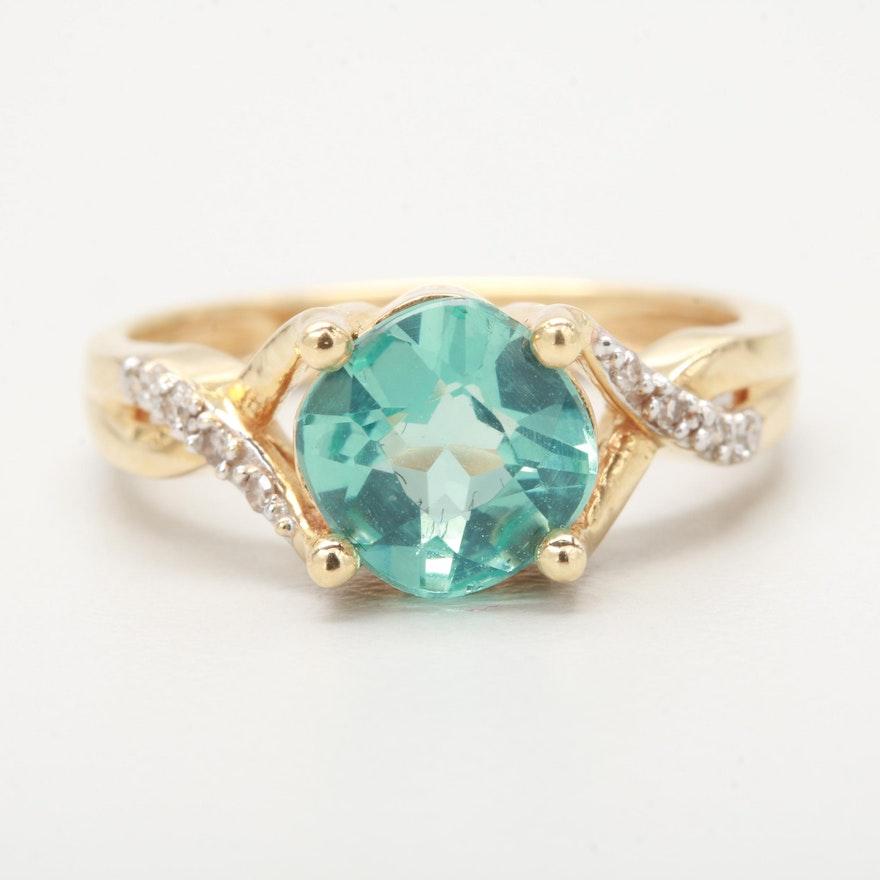 14K Yellow Gold Apatite and Diamond Ring