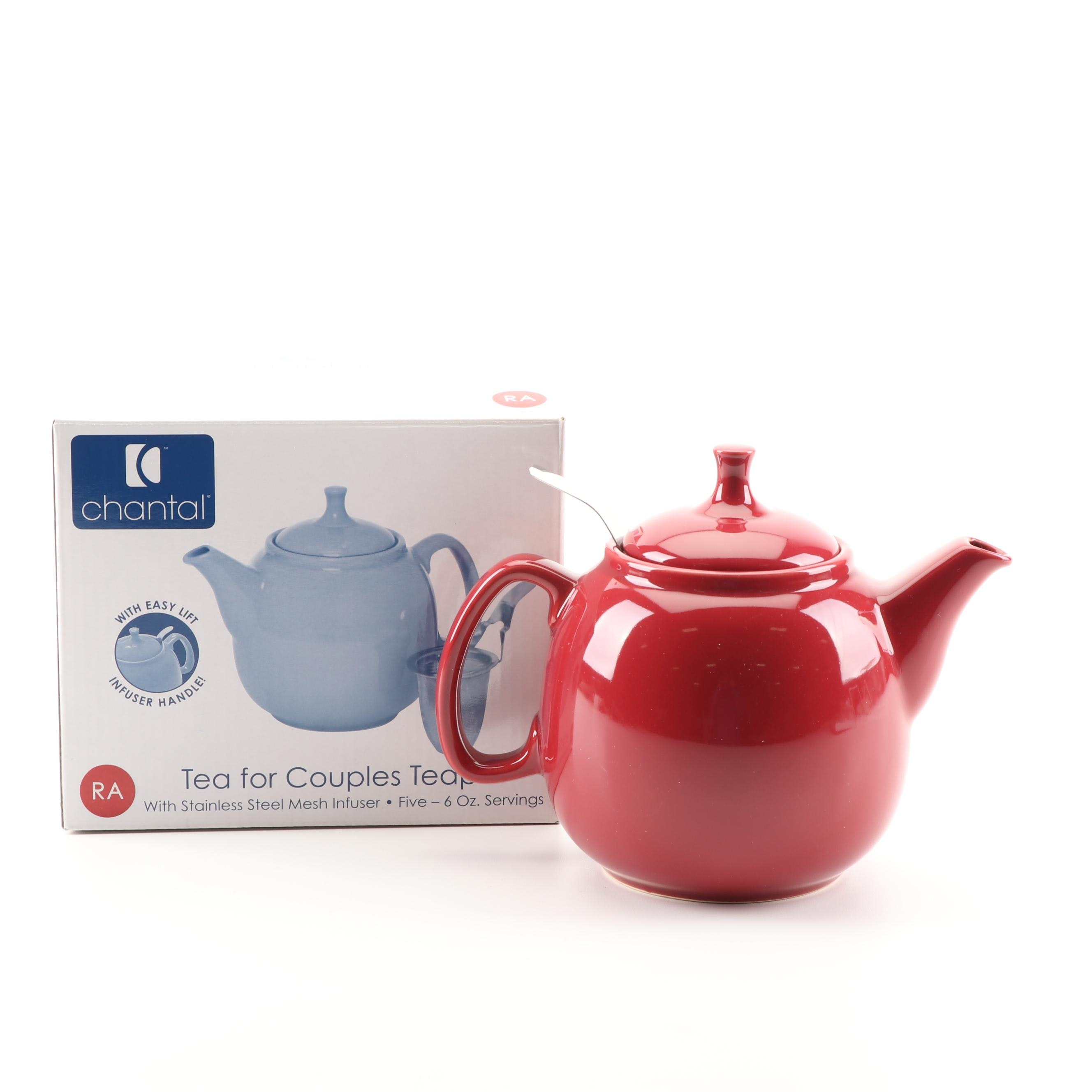 Chantal Red Ceramic Teapot with Stainless Mesh Infuser