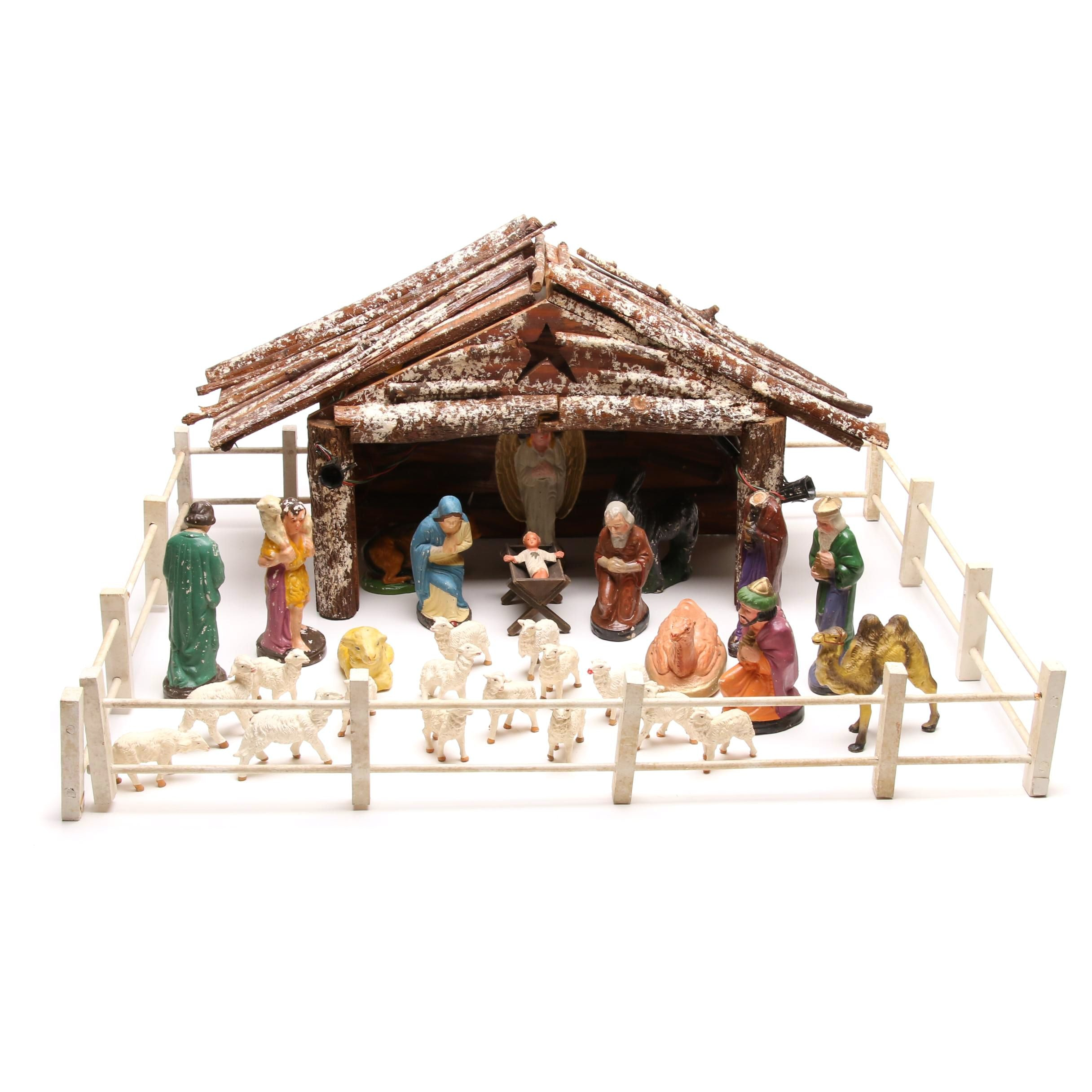 Christmas Tabletop Nativity Display, 1960s