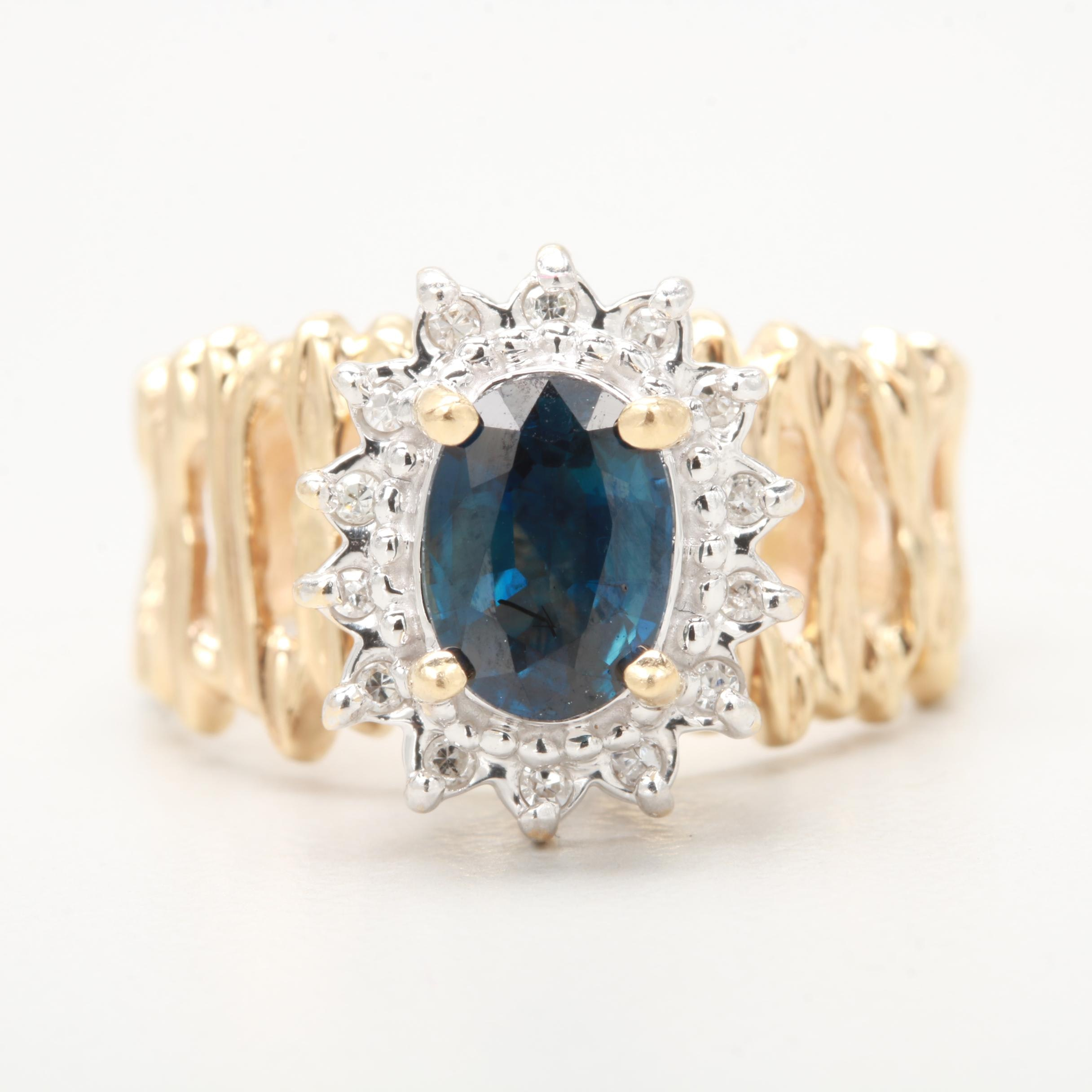 14K Yellow and White Gold Blue Sapphire and Diamond Ring