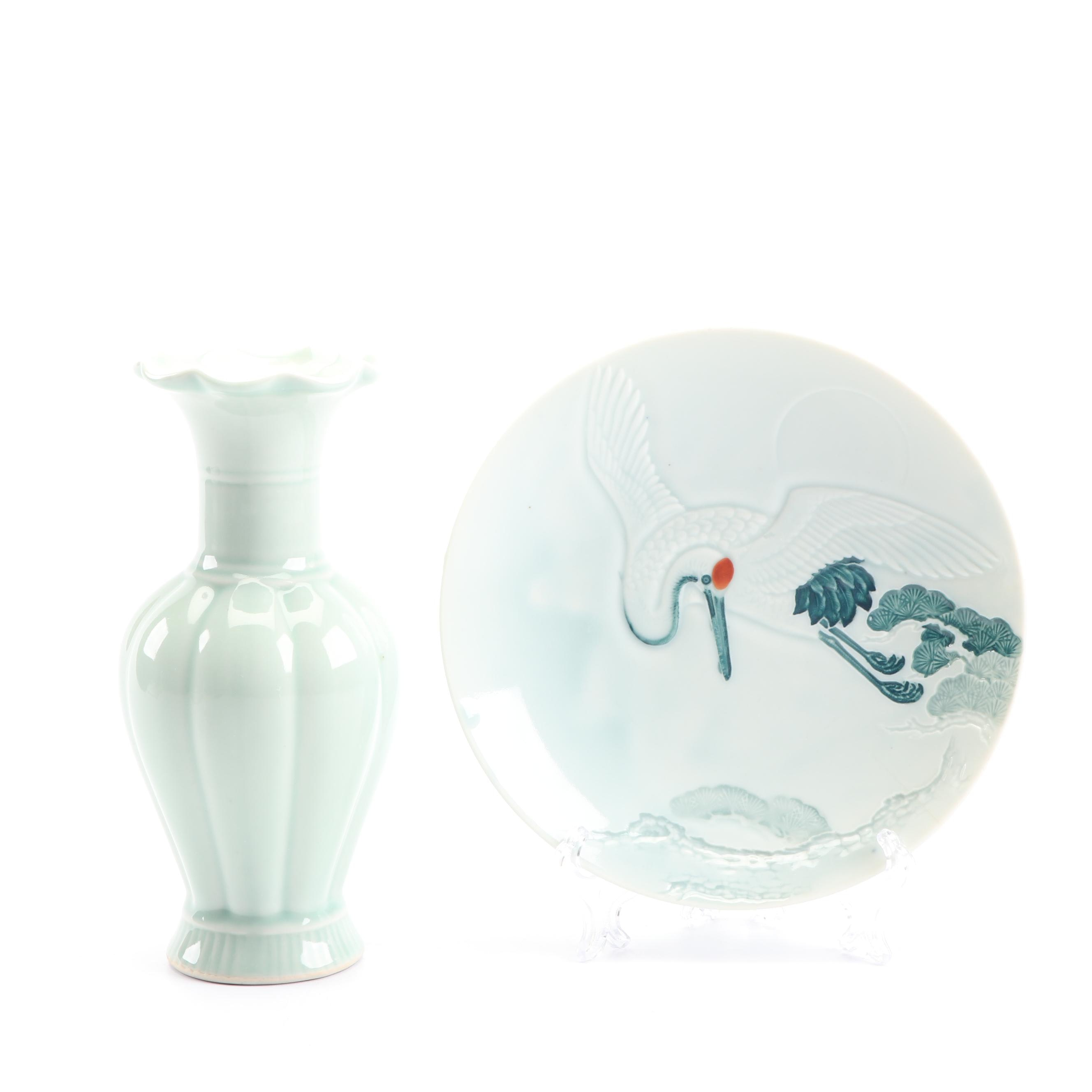 Celadon Vase and Hand-Painted Bowl with Bird Design