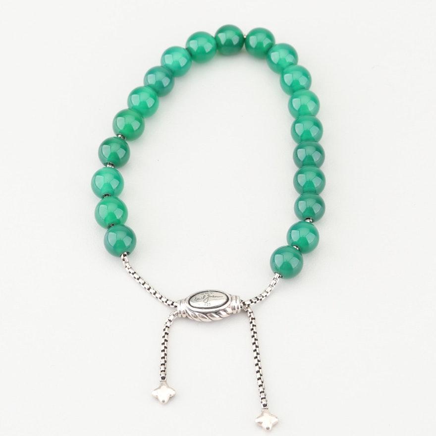 78de5c2a1 David Yurman Sterling Silver Green Onyx Bead Bracelet : EBTH