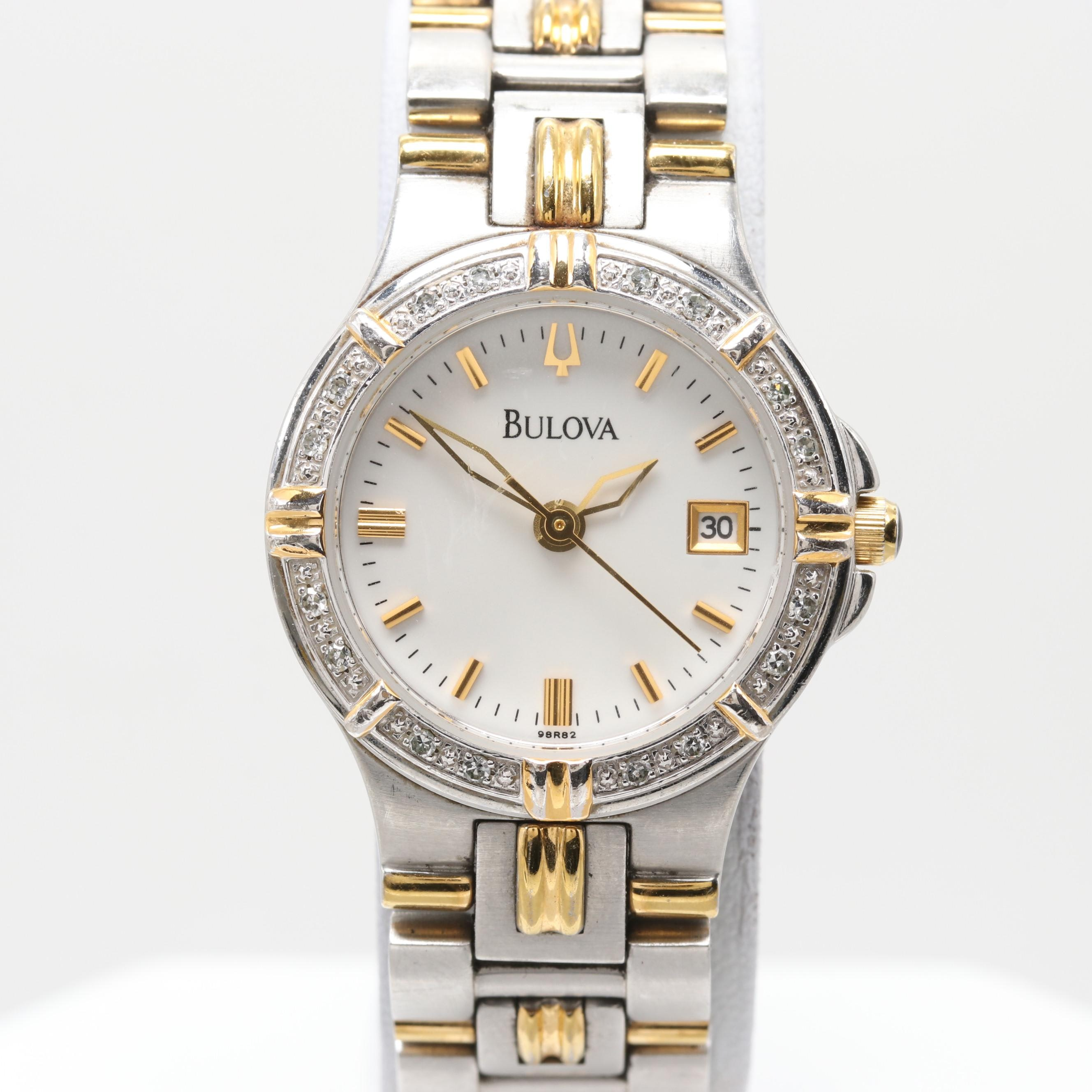 Bulova Two-Tone Wristwatch With Diamond Bezel