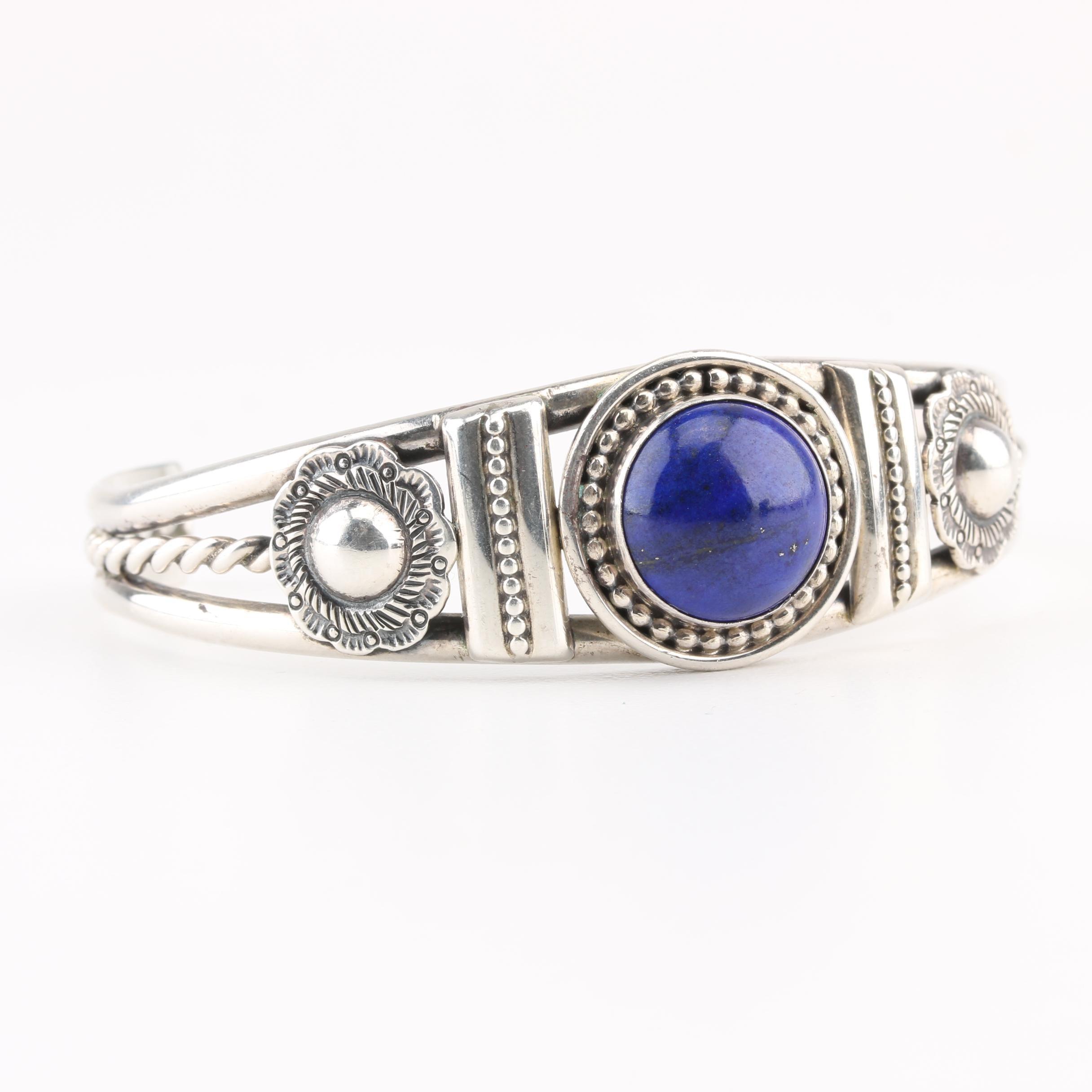 Geneva Ramone Navajo Diné Sterling Silver Lapis Lazuli Cuff Bracelet