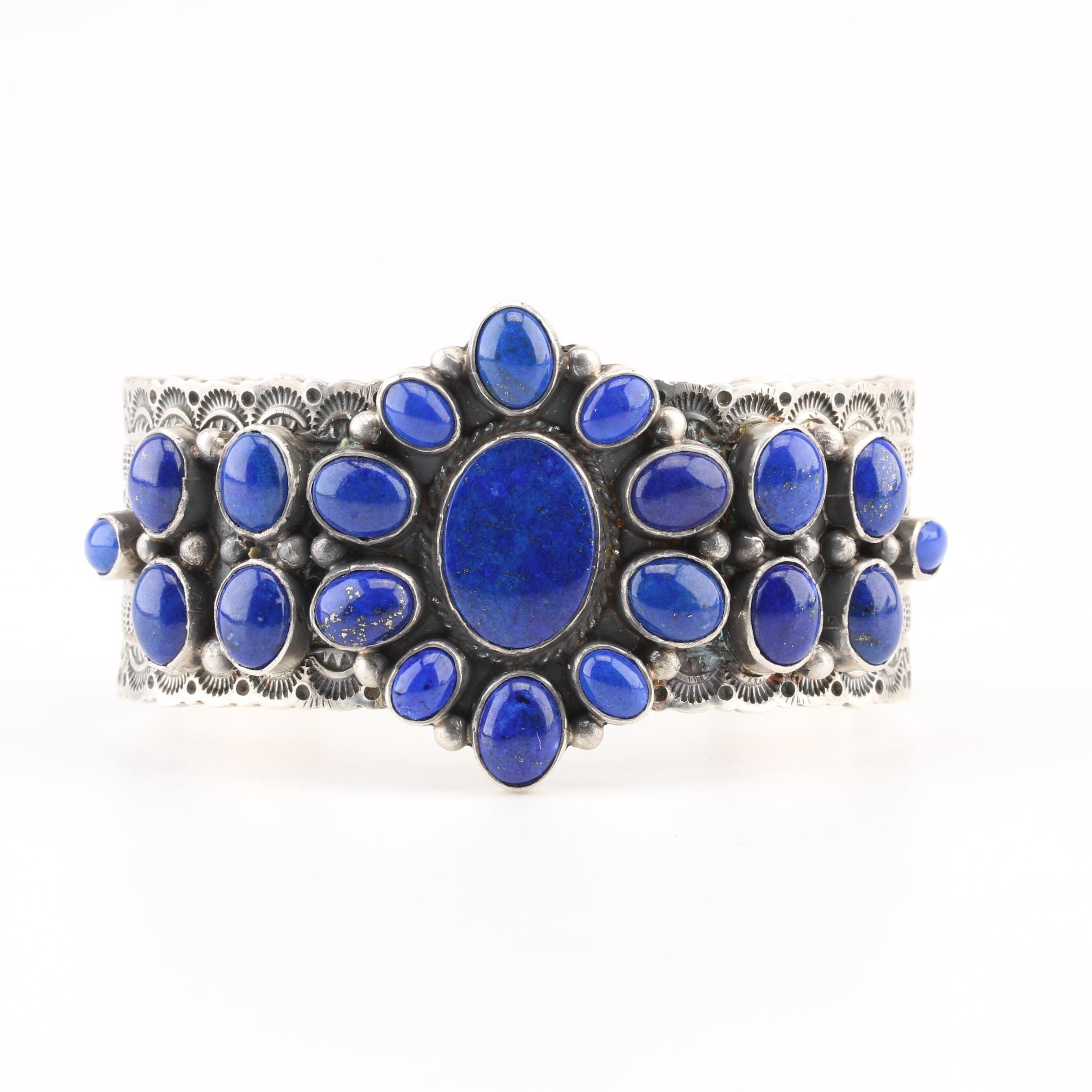 Michael and Rosita Calladitto Navajo Diné Sterling Lapis Lazuli Cuff Bracelet
