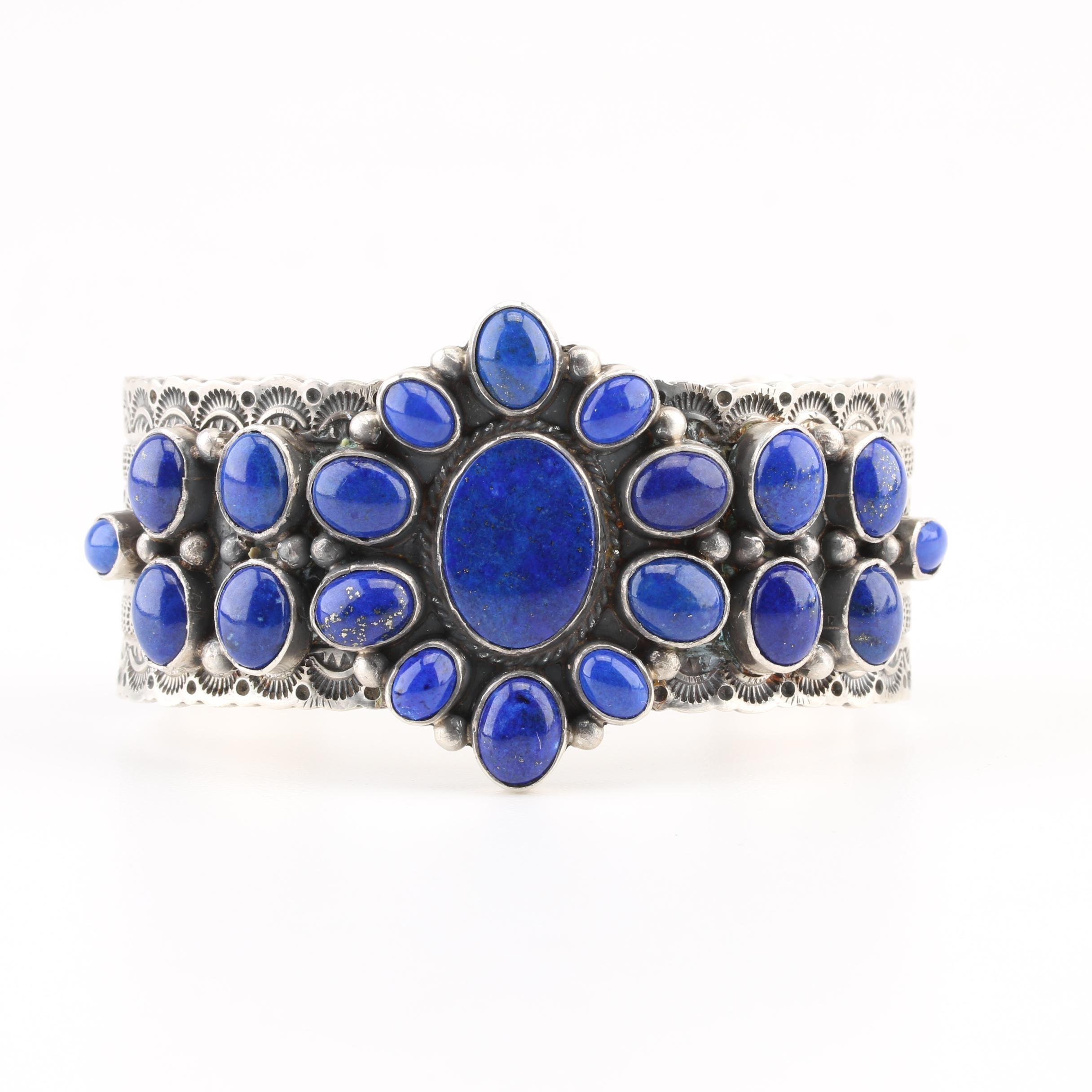 Michael and Rosita Calladitto Navajo Diné Sterling Lapis Lazuli Cuff Bracelet