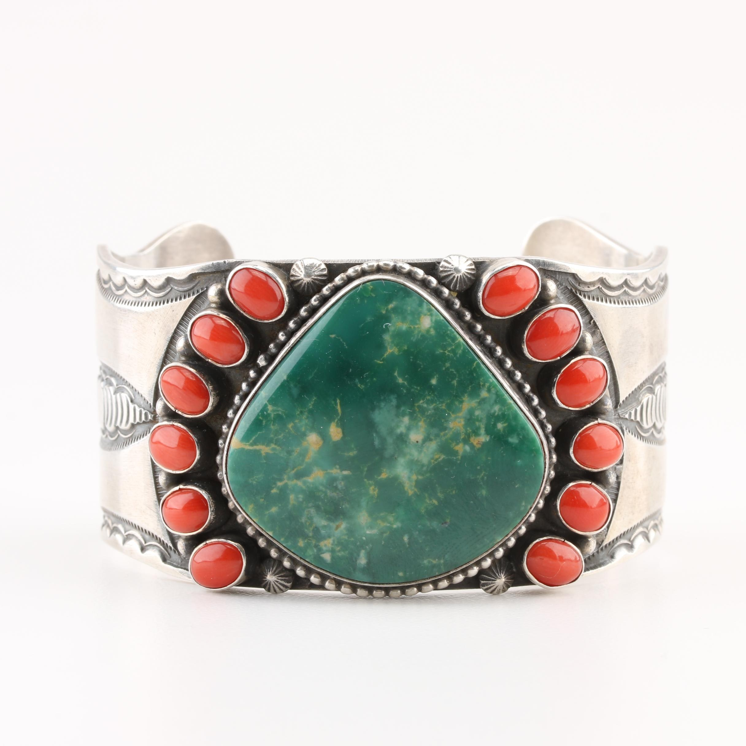 Rick Martinez Navajo Diné Sterling Silver Turquoise and Coral Cuff Bracelet