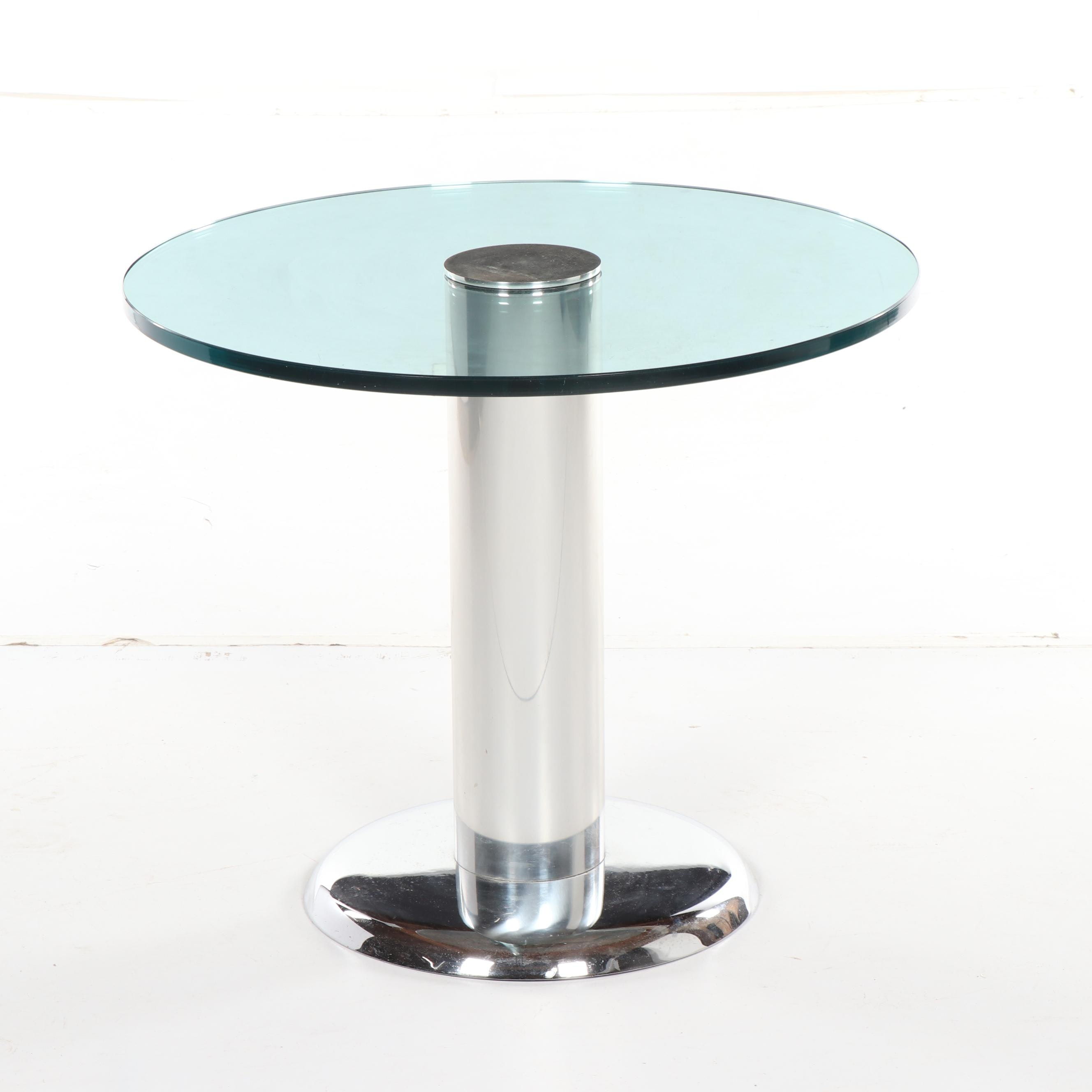 Mid Century Modern Style Glass and Chrome Table, 21st Century