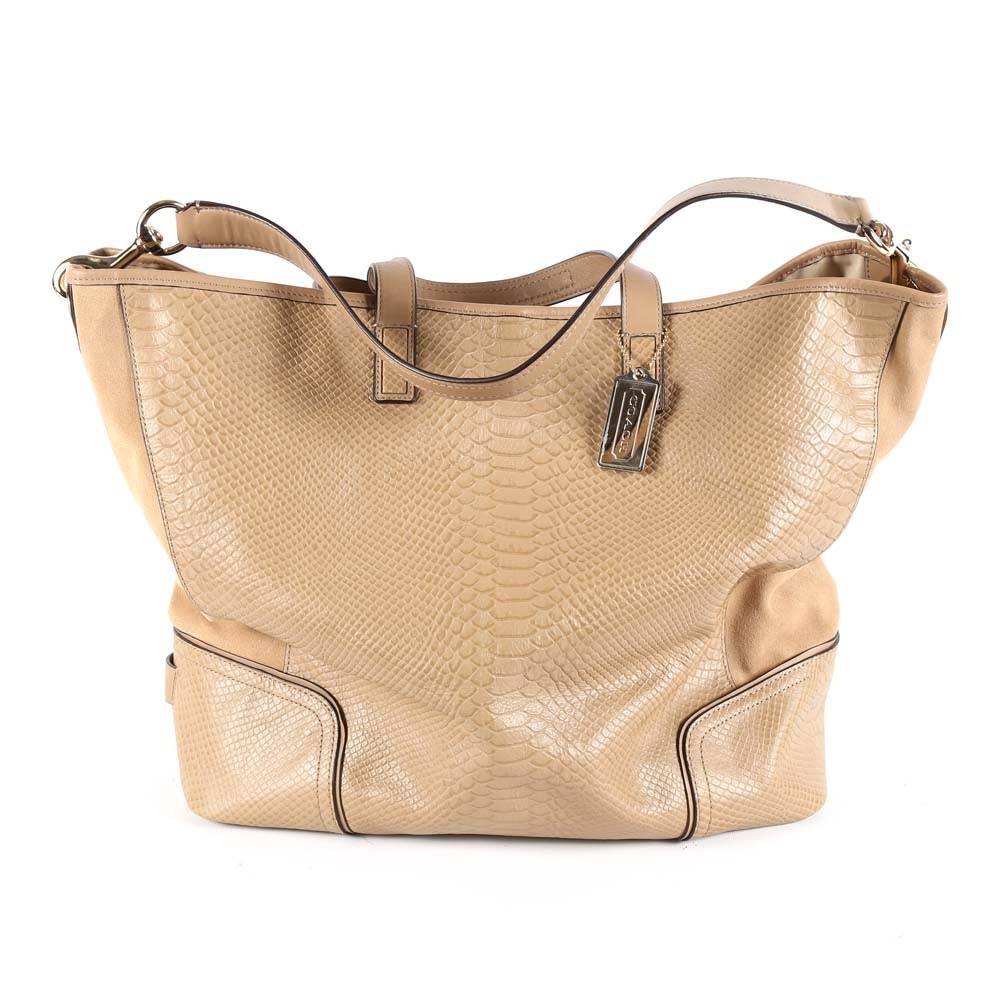 Coach Hadley Python Embossed Beige Leather Convertible Tote