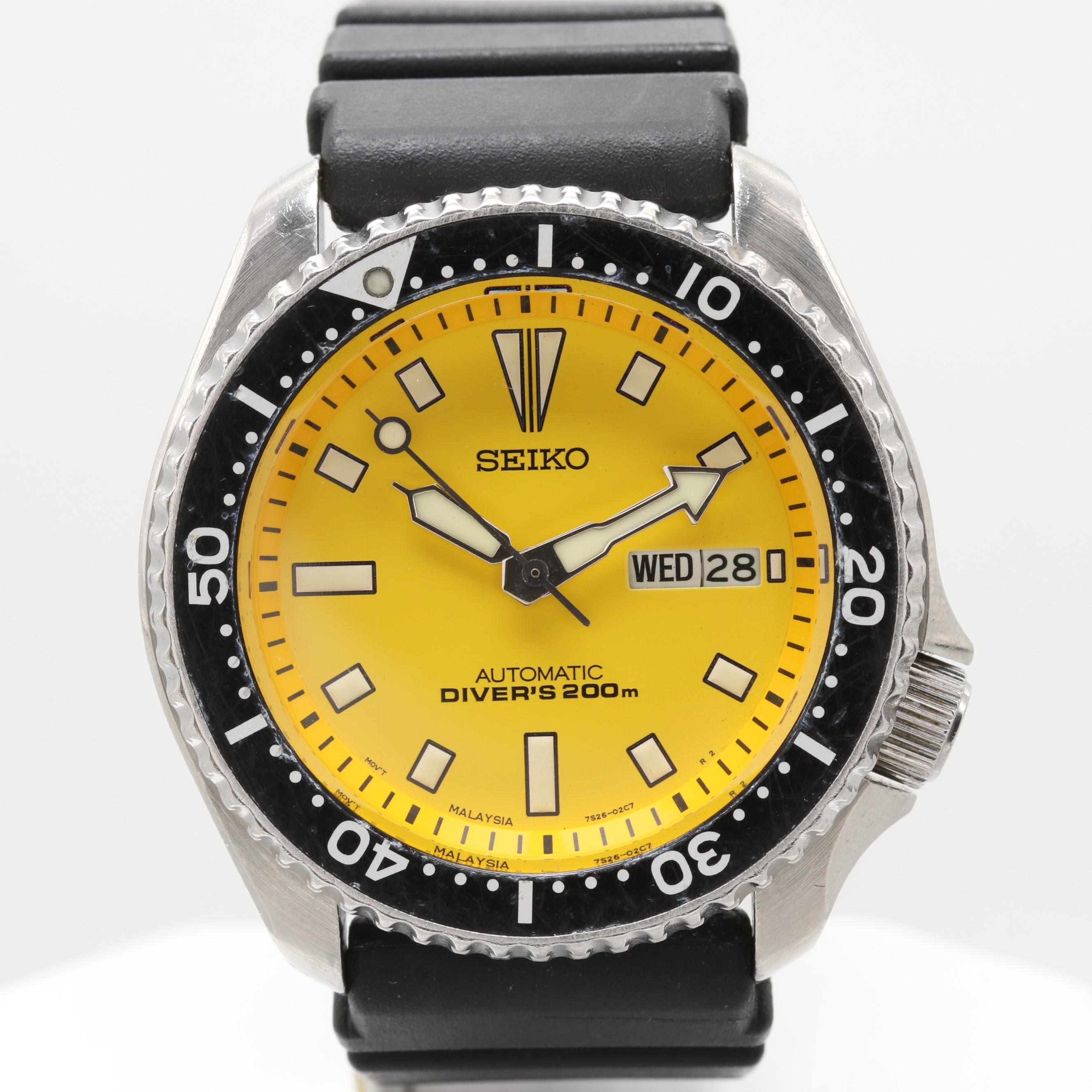 Seiko Diver's 200M Automatic Wristwatch With Day-Date Window