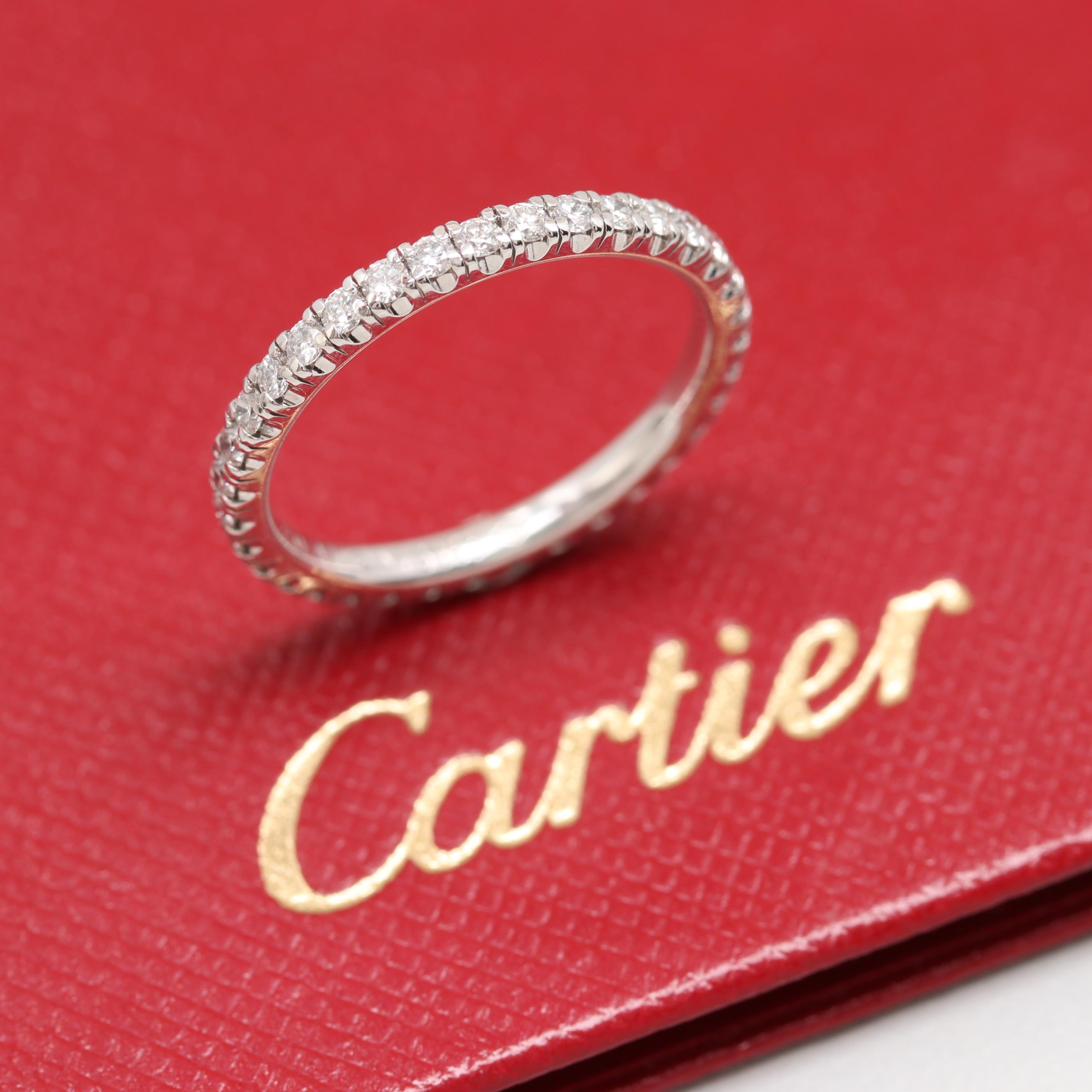Cartier 18K White Gold Diamond Eternity Ring with Cartier Certificate